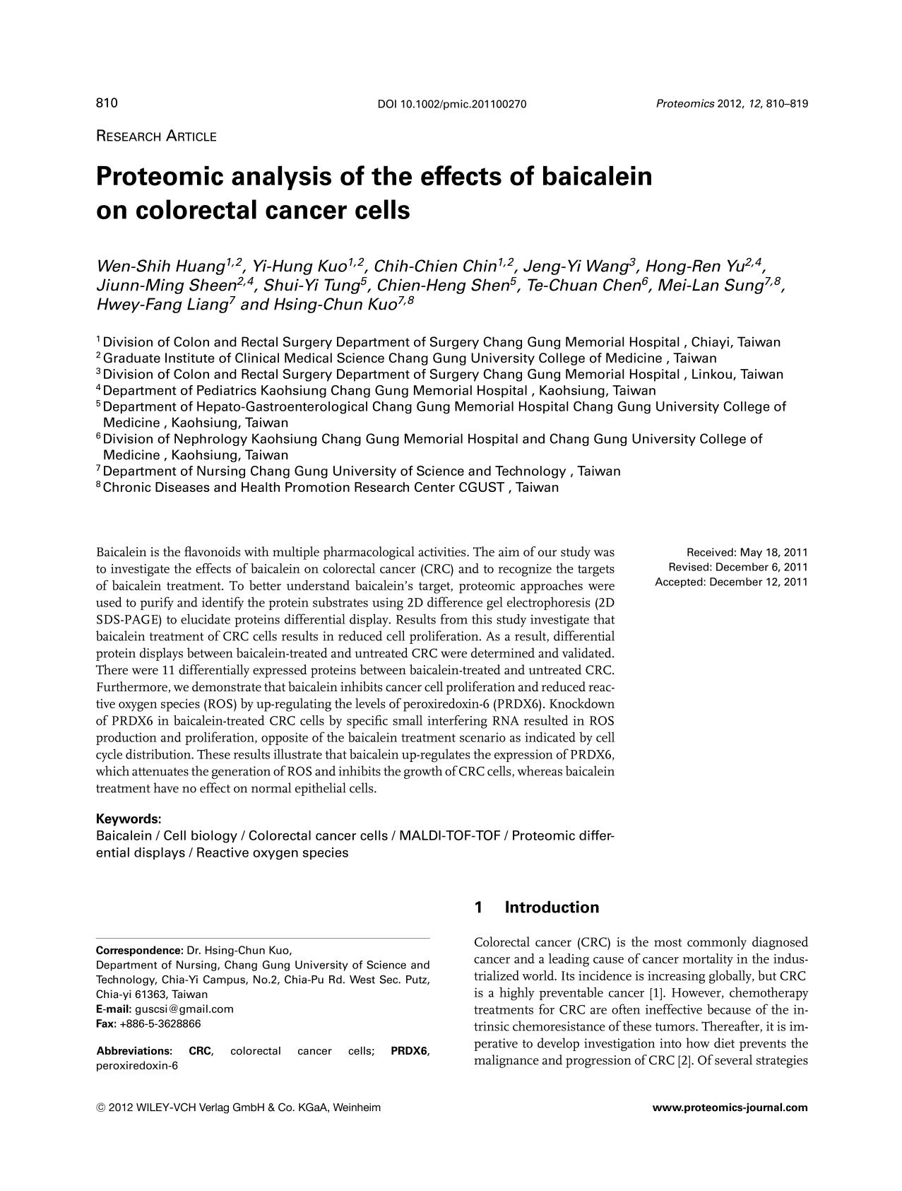Обложка книги Proteomic analysis of the effects of baicalein on colorectal cancer cells