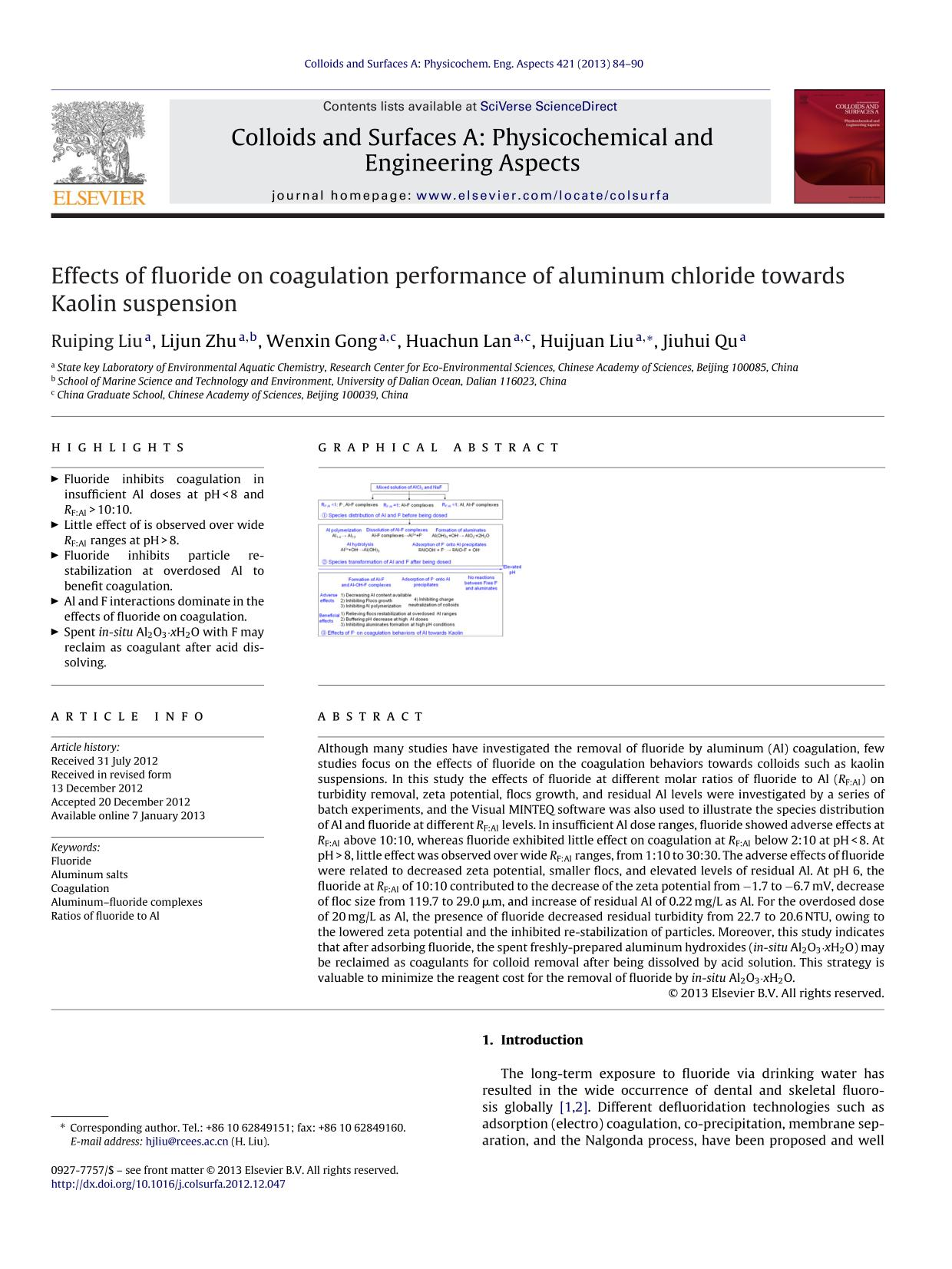 La couverture du livre Effects of fluoride on coagulation performance of aluminum chloride towards Kaolin suspension