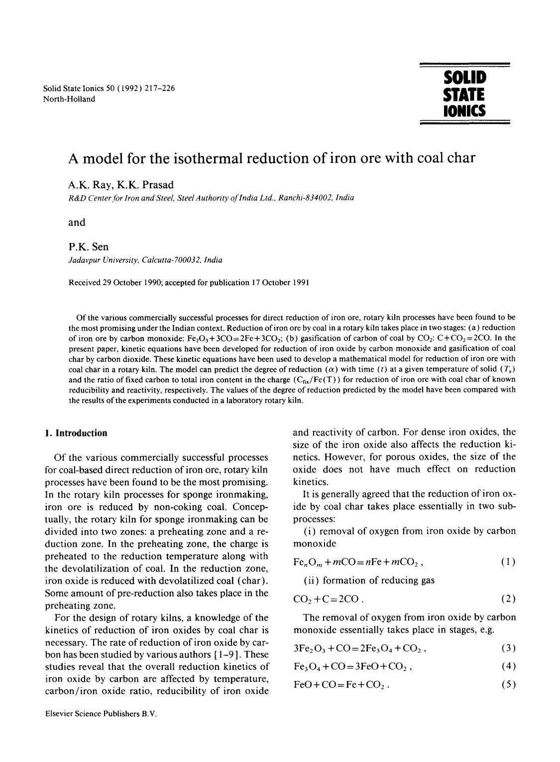 Εξώφυλλο βιβλίου A model for the isothermal reduction of iron ore with coal char