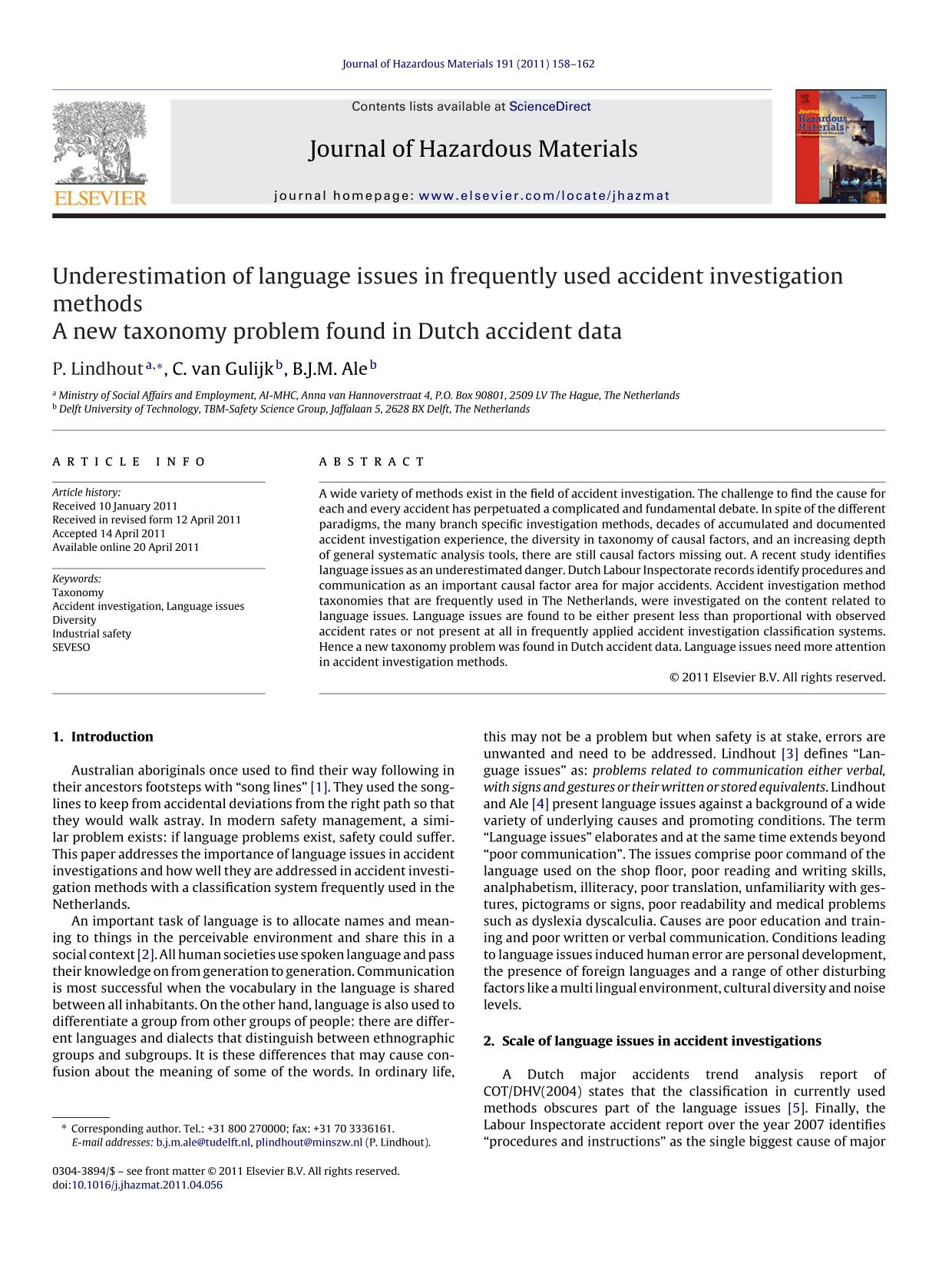 Обложка книги Underestimation of language issues in frequently used accident investigation methods: A new taxonomy problem found in Dutch accident data
