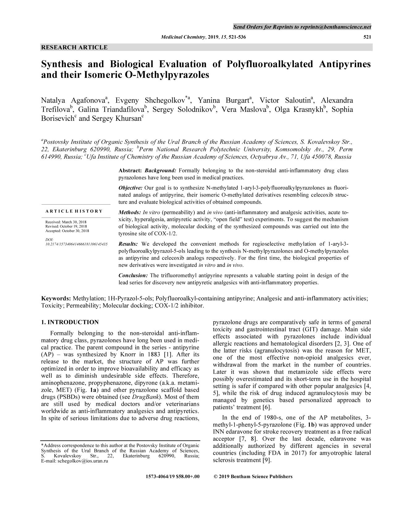 Обложка книги Synthesis and Biological Evaluation of Polyfluoroalkylated Antipyrines and their Isomeric O-Methylpyrazoles