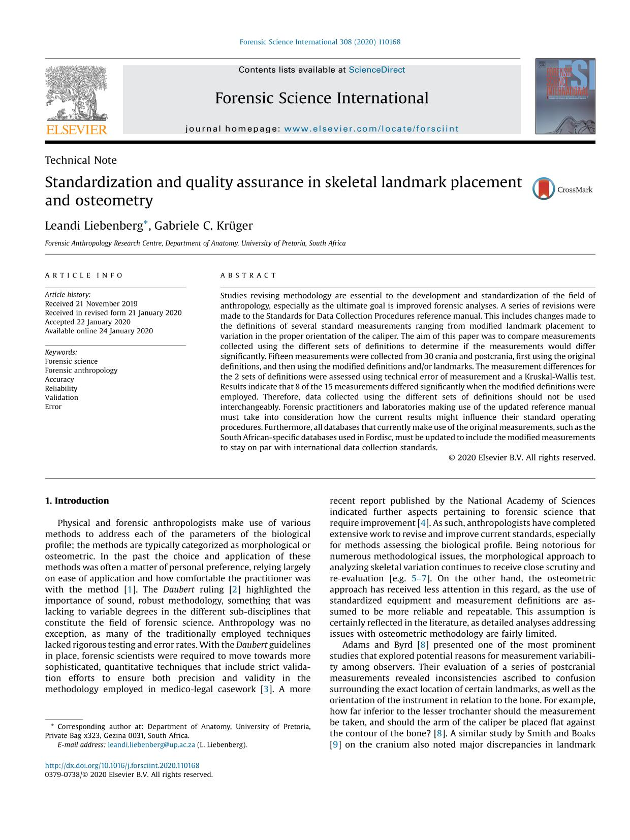 Book cover Standardization and quality assurance in skeletal landmark placement and osteometry