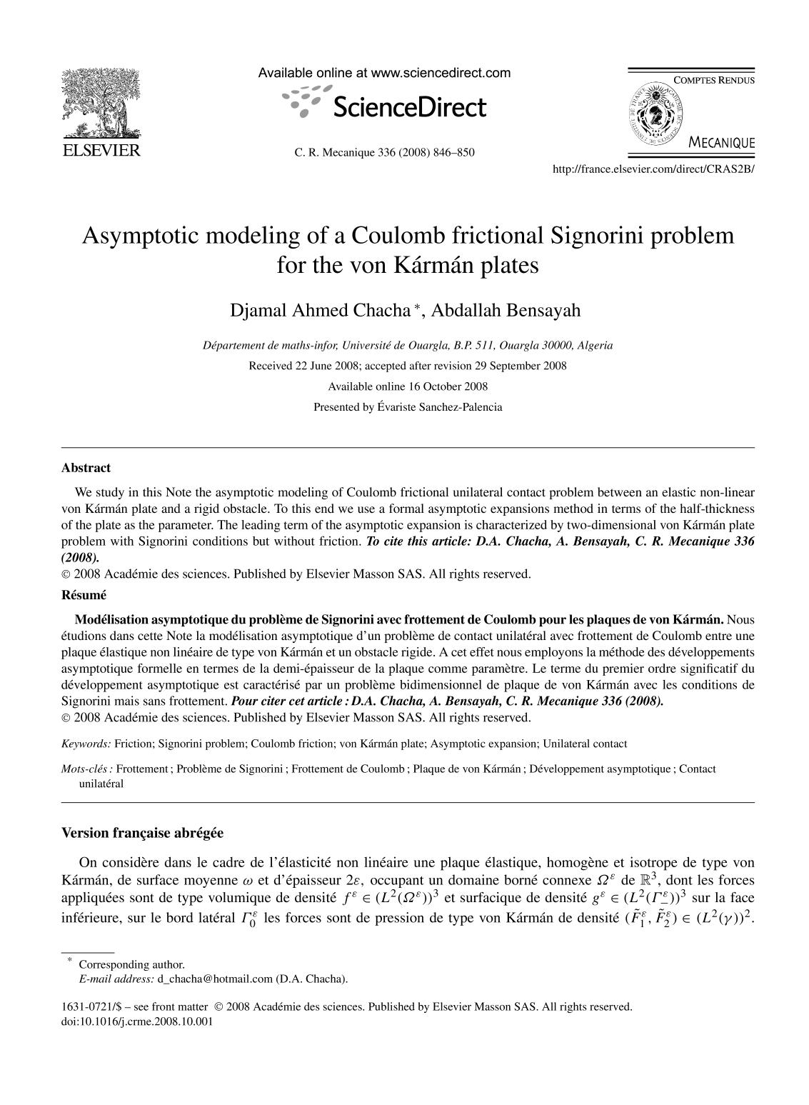 Portada del libro Asymptotic modeling of a Coulomb frictional Signorini problem for the von Kármán plates