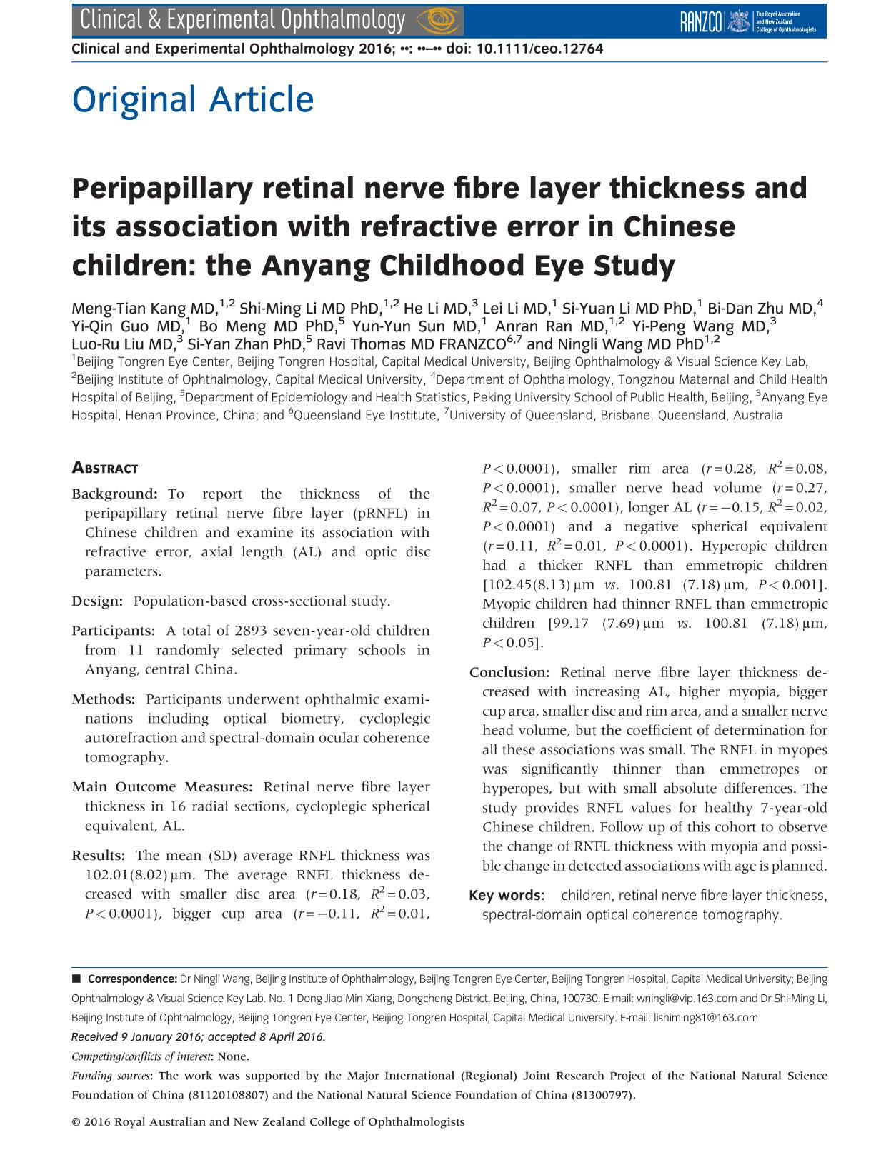 Portada del libro Peripapillary Retinal Nerve Fiber Layer Thickness and its Association with Refractive error in Chinese Children: The Anyang Childhood Eye Study
