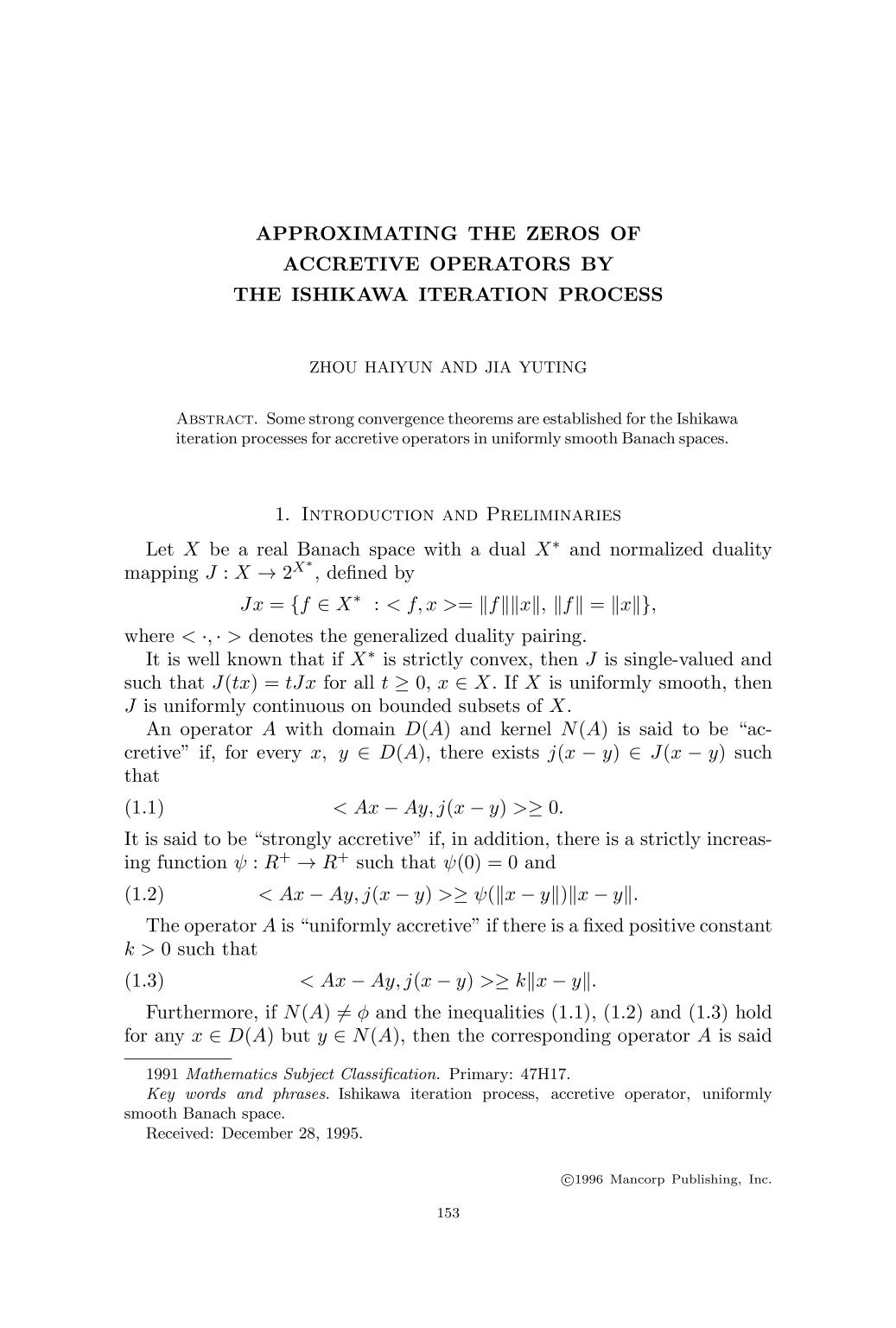 Portada del libro Approximating the zeros of accretive operators by the Ishikawa iteration process