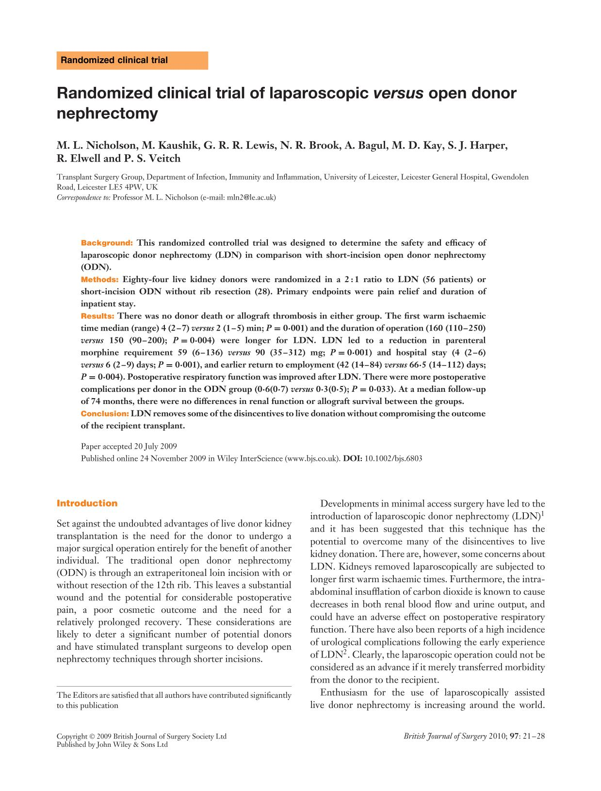 Обкладинка книги Randomized clinical trial of laparoscopic <em>versus</em> open donor nephrectomy