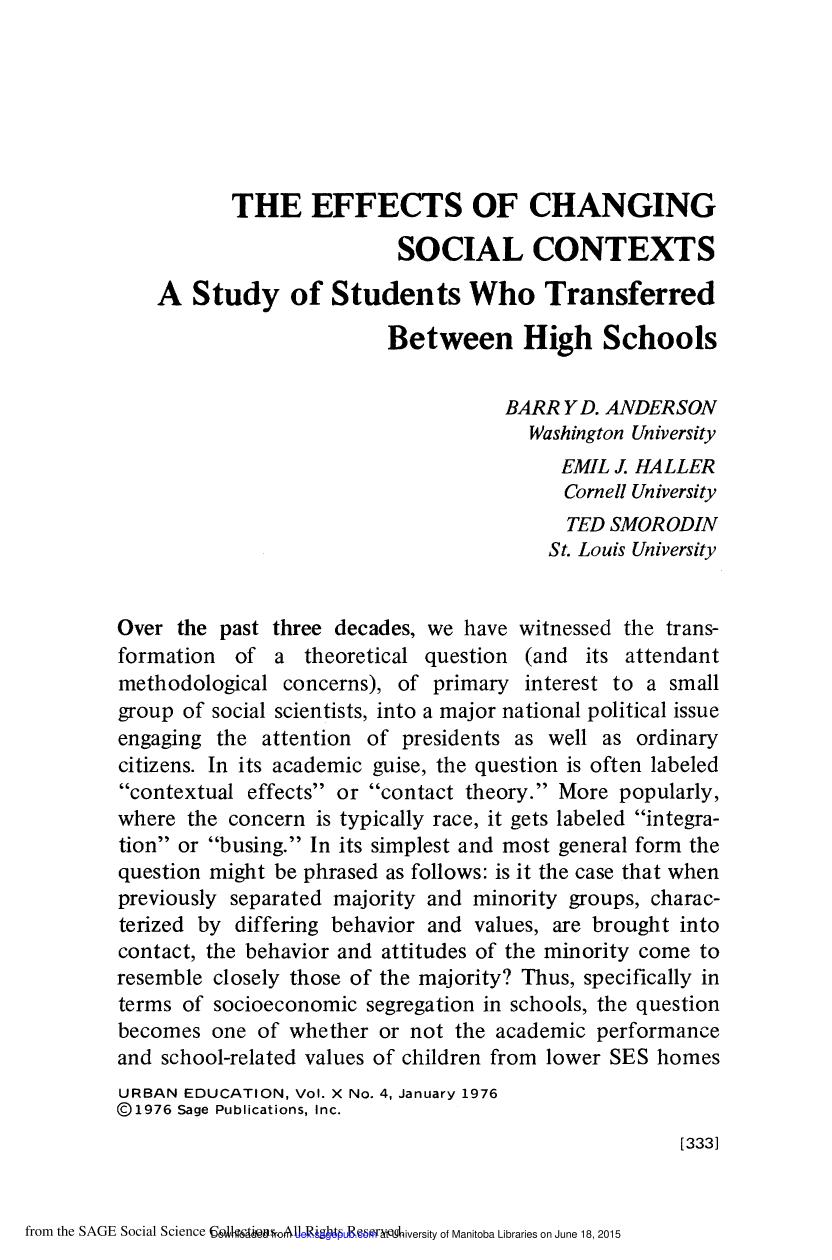 Portada del libro The Effects of Changing Social Contexts: A Study of Students Who Transferred between High Schools