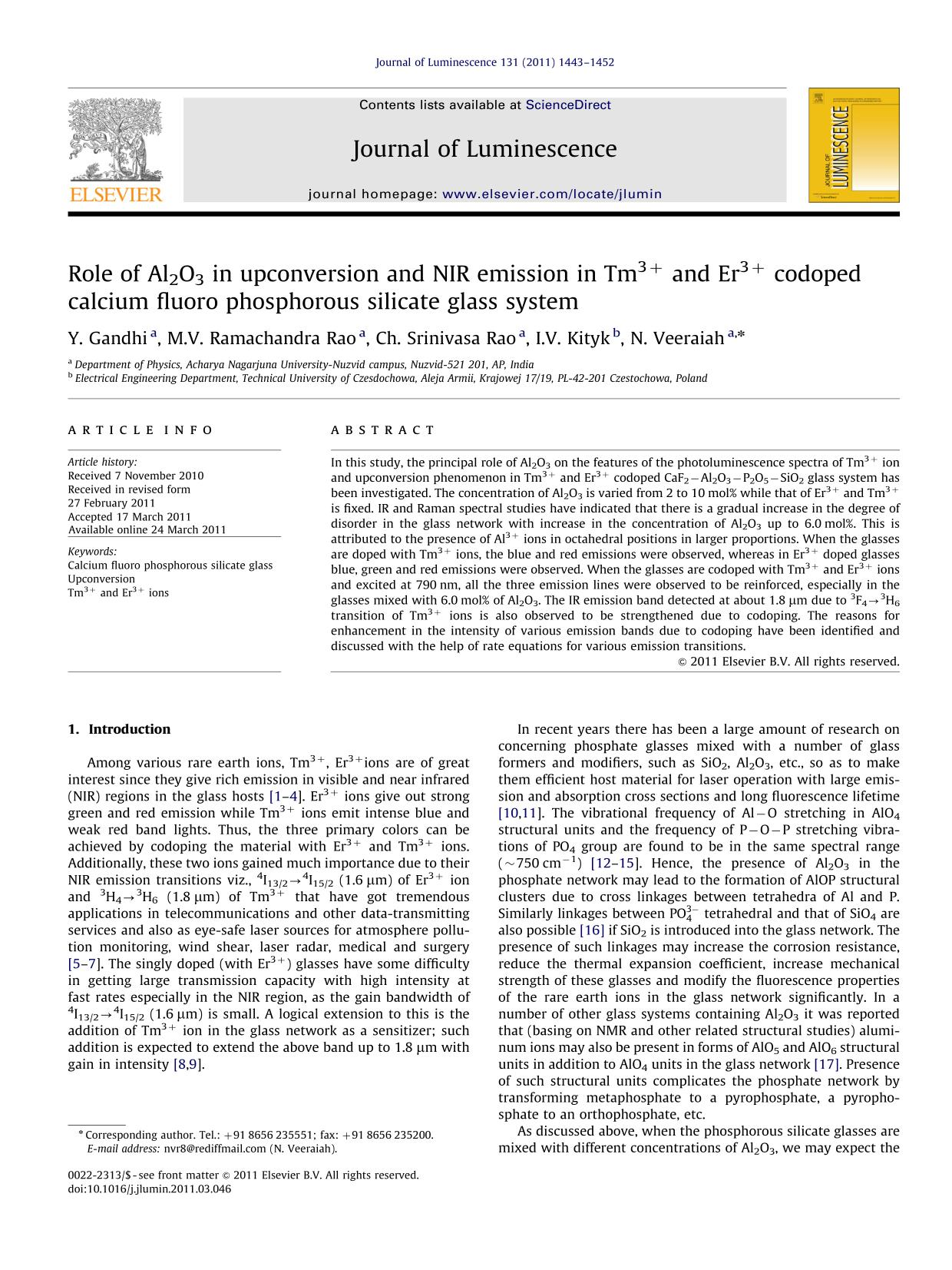 Okładka książki Role of Al2O3 in upconversion and NIR emission in Tm3+ and Er3+ codoped calcium fluoro phosphorous silicate glass system