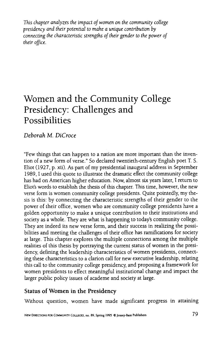 書籍の表紙 Women and the Community College Presidency: Challenges and possibilities