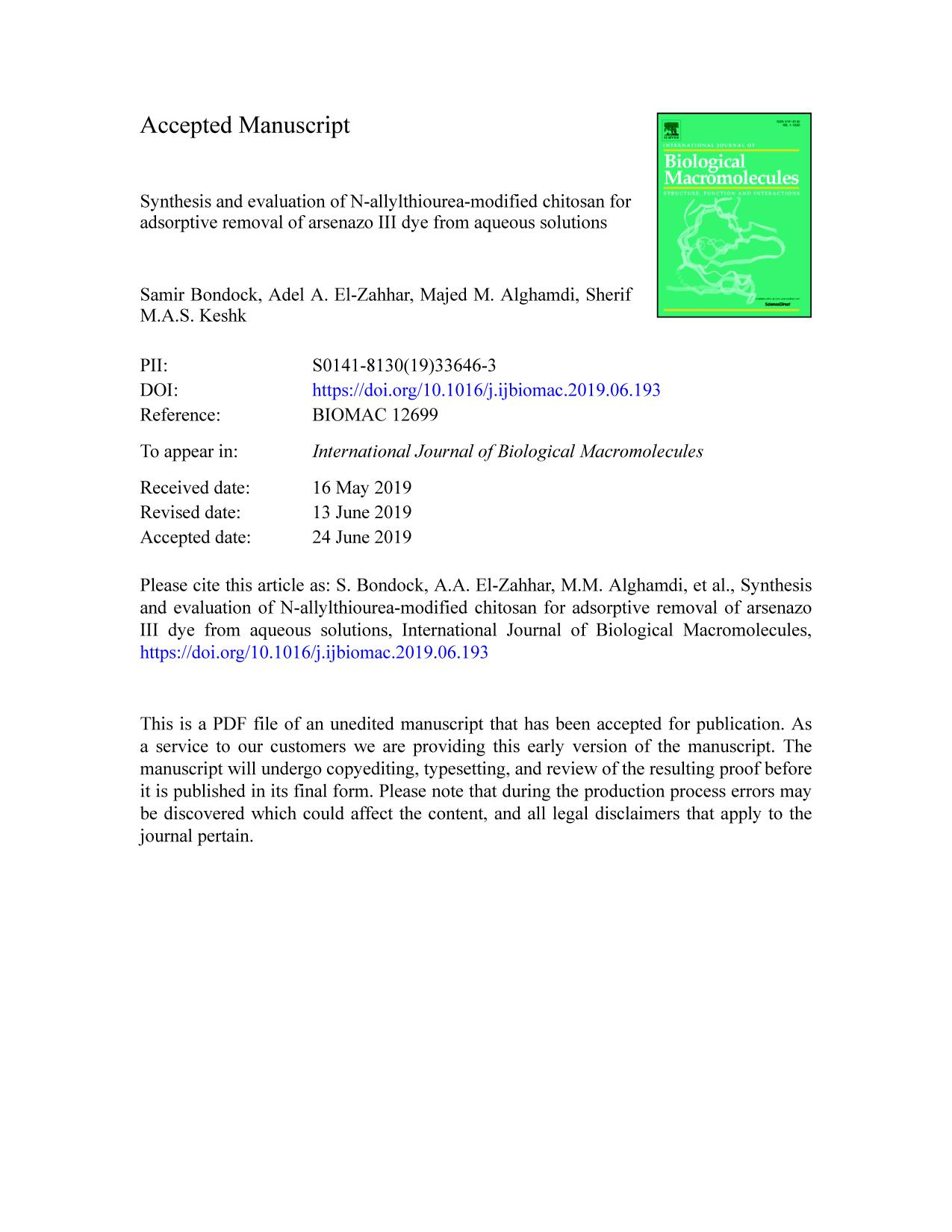 Book cover Synthesis and evaluation of N-allylthiourea-modified chitosan for adsorptive removal of arsenazo III dye from aqueous solutions