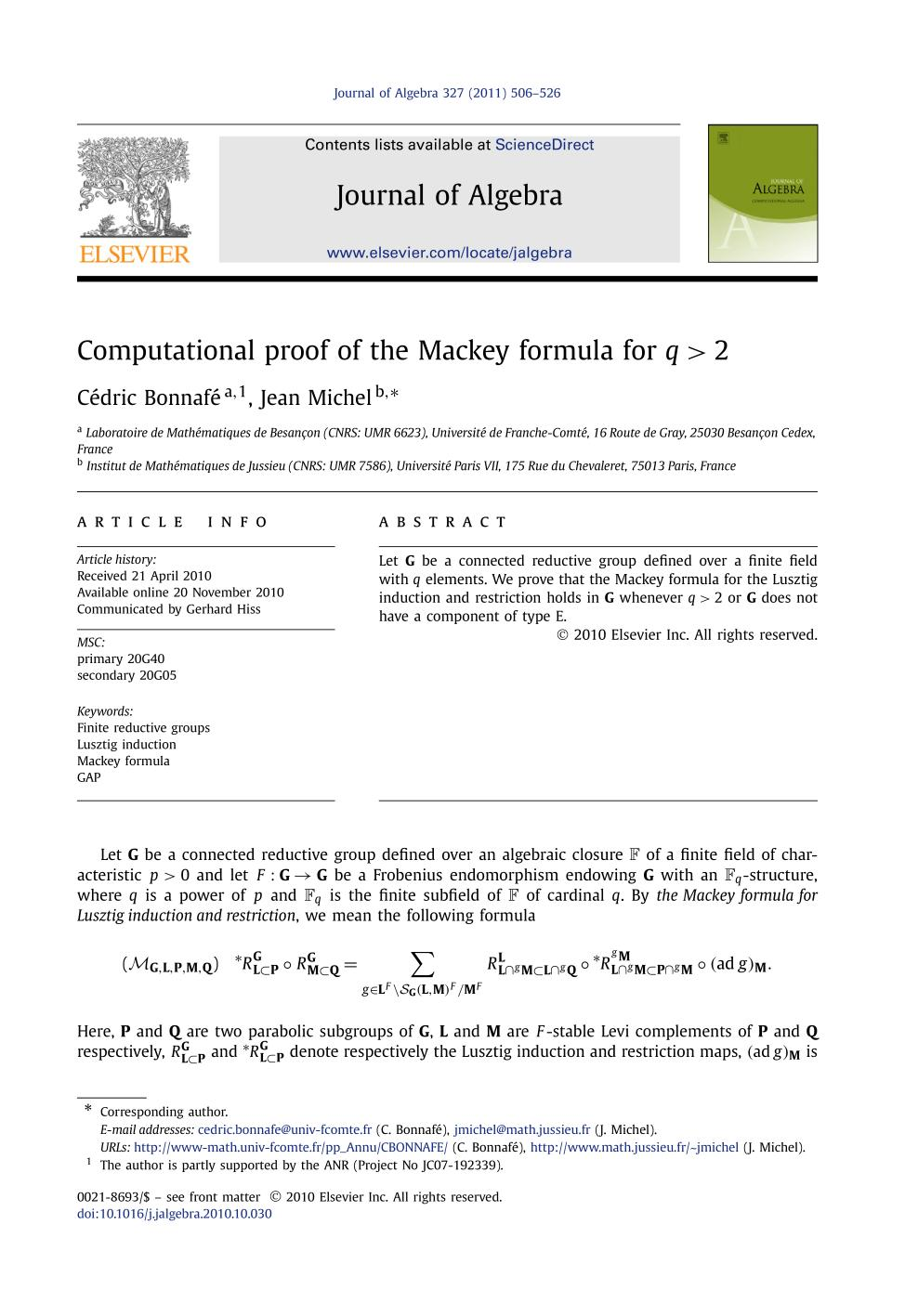 Обкладинка книги Computational proof of the Mackey formula for