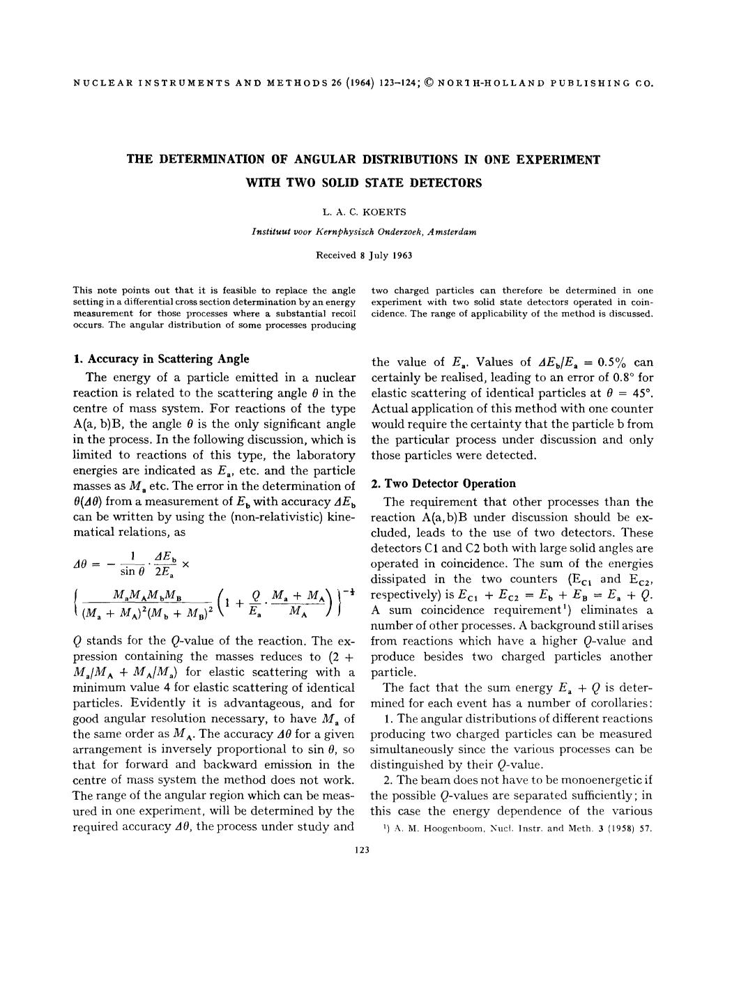 capa de livro The determination of angular distributions in one experiment with two solid state detectors