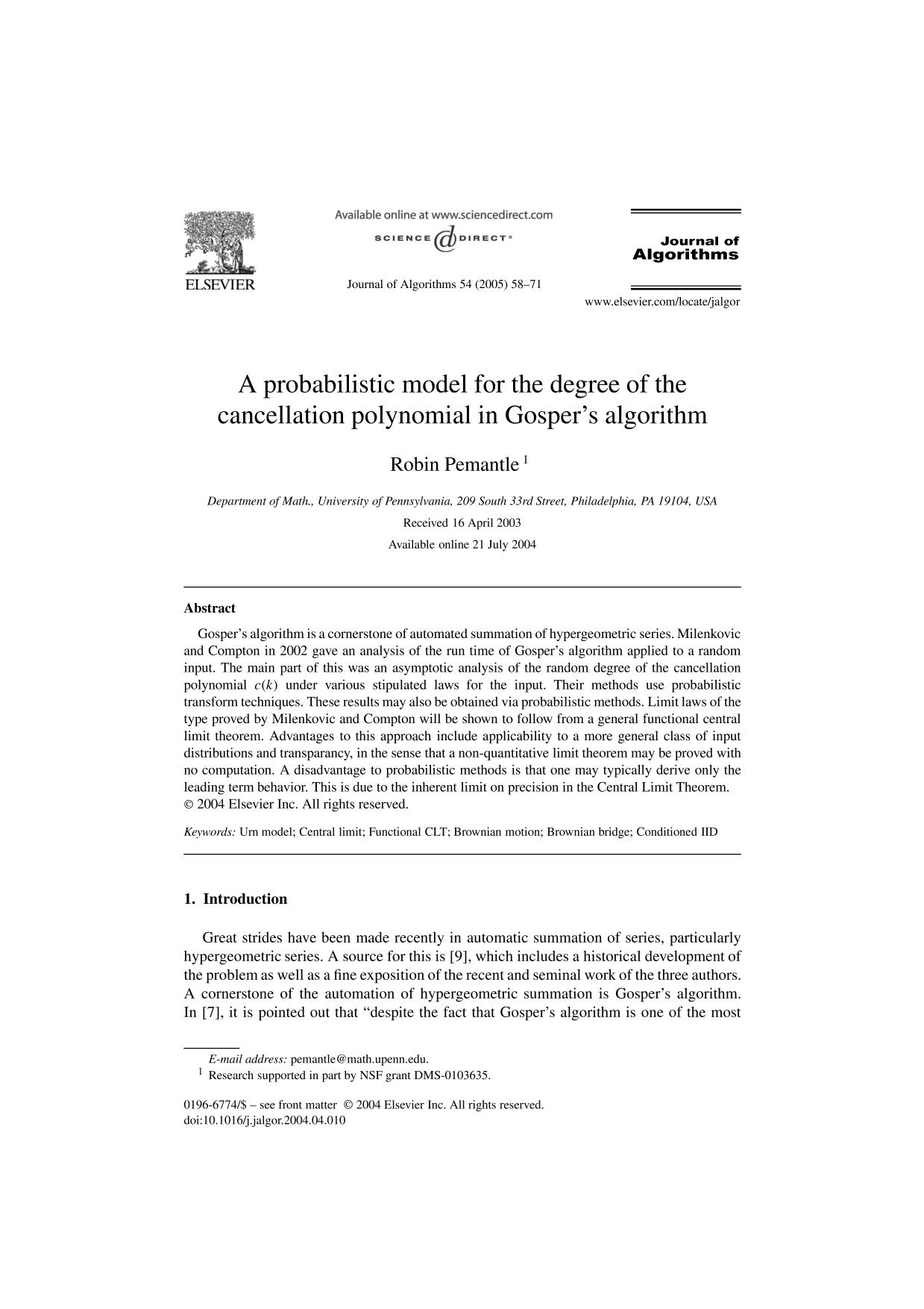 غلاف الكتاب A probabilistic model for the degree of the cancellation polynomial in Gosper's algorithm