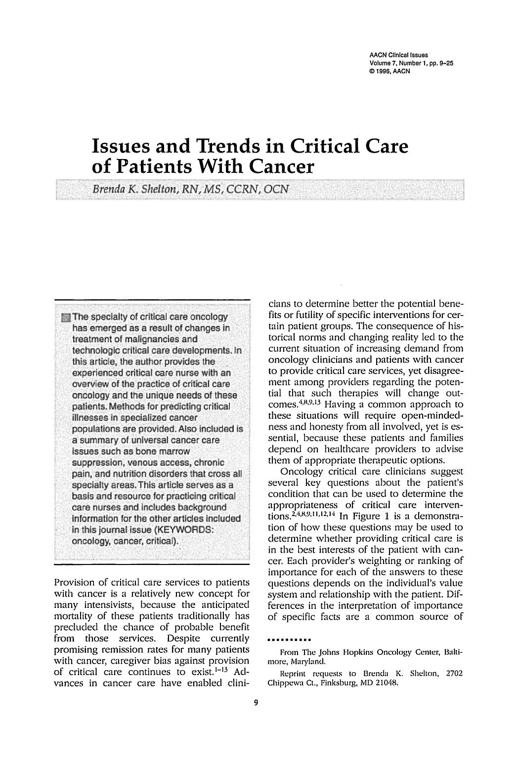 Book cover Issues and Trends in Critical Care of Patients With Cancer