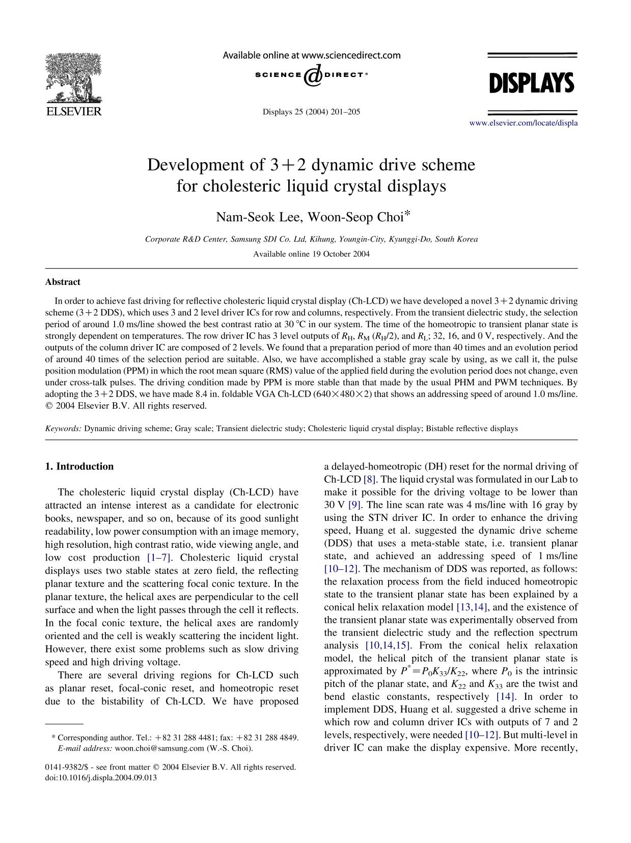 Kulit buku Development of 3+2 dynamic drive scheme for cholesteric liquid crystal displays
