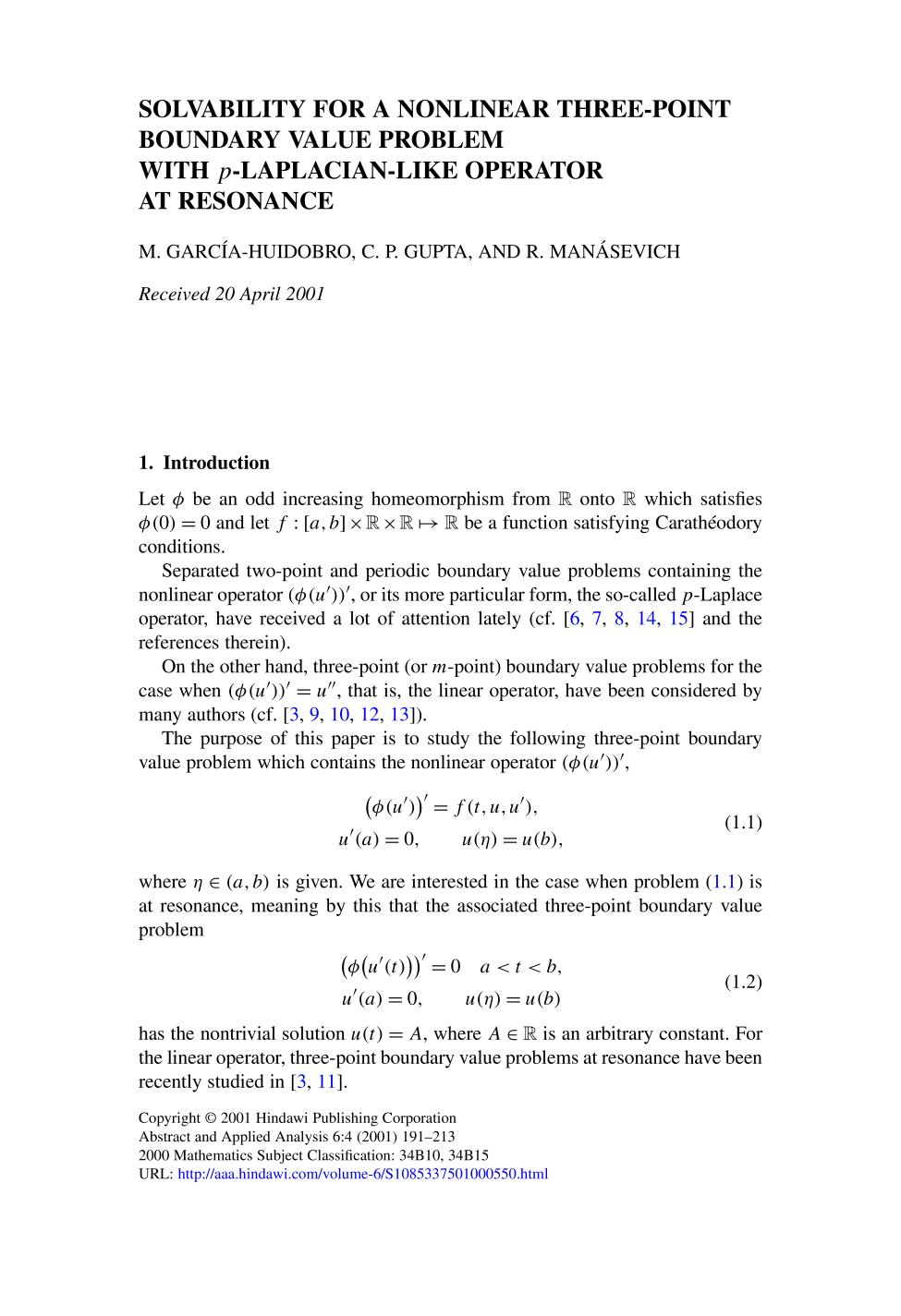 Buchcover Solvability for a nonlinear three-point boundary value problem with<br />