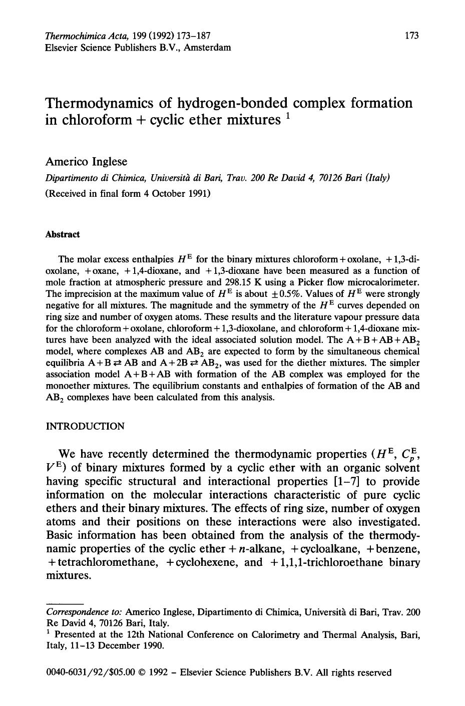 पुस्तक आवरण Thermodynamics of hydrogen-bonded complex formation in chloroform + cyclic ether mixtures