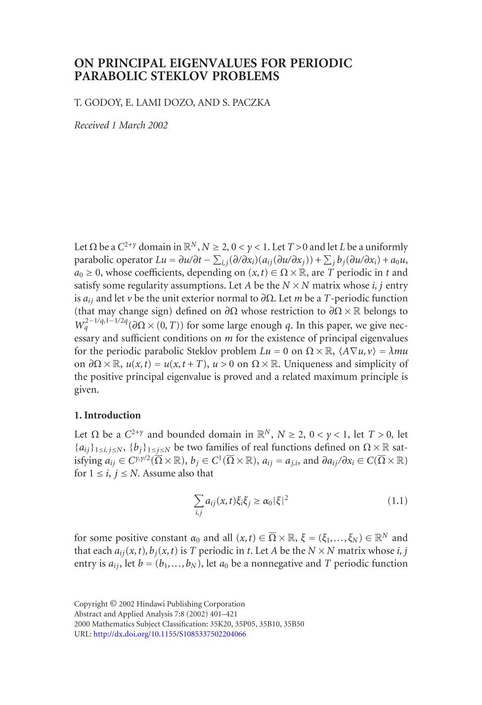 capa de livro On principal eigenvalues for periodic parabolic Steklov problems