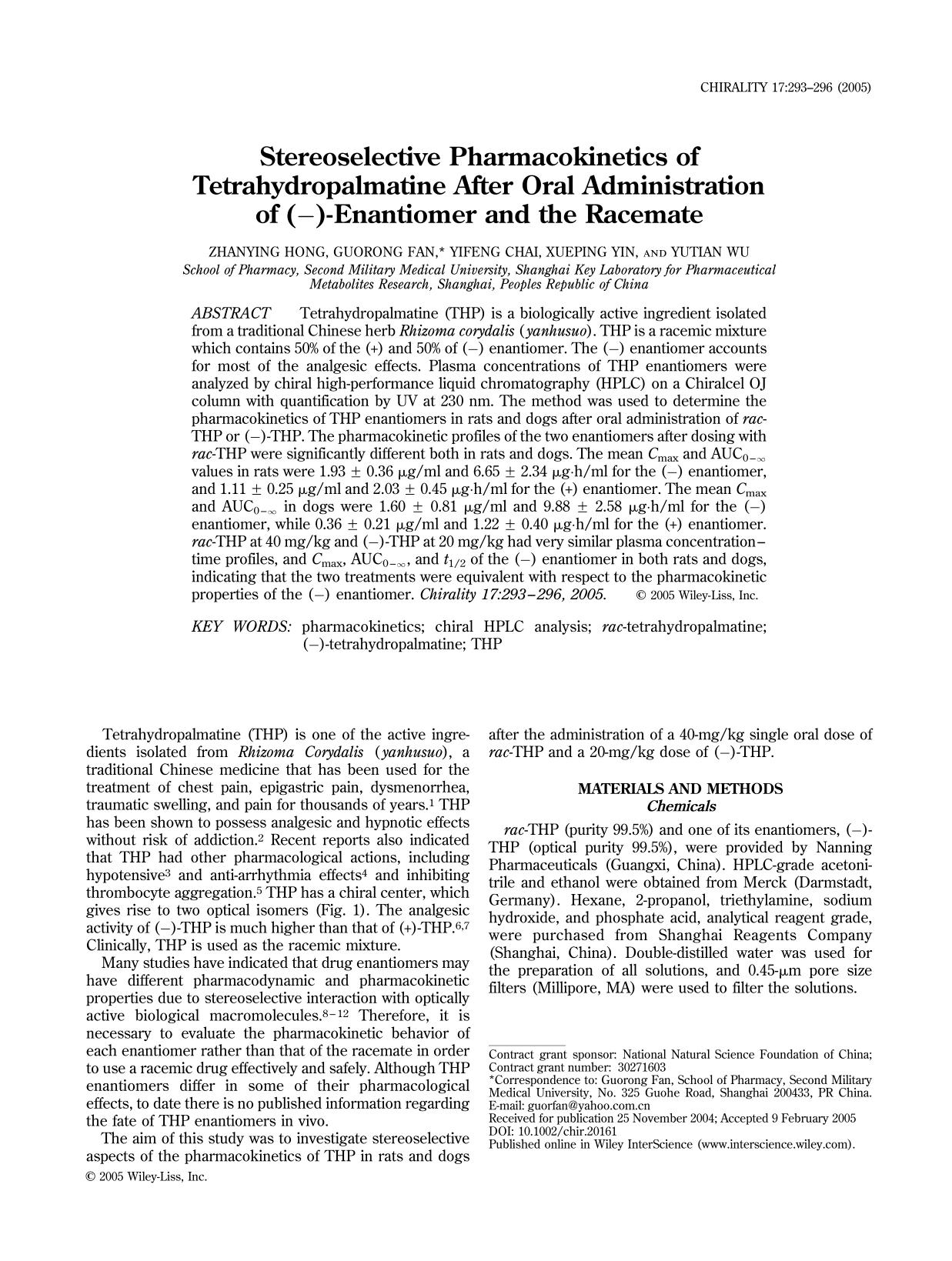 Εξώφυλλο βιβλίου Stereoselective pharmacokinetics of tetrahydropalmatine after oral administration of (−)-enantiomer and the racemate