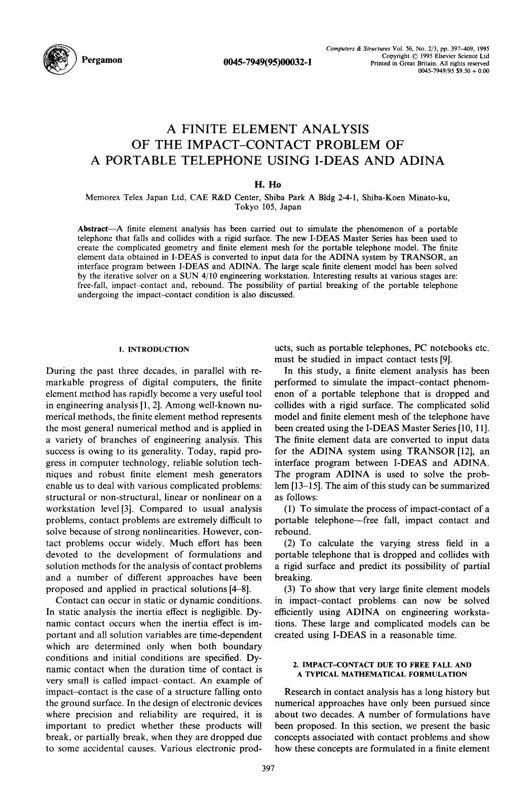 Обкладинка книги A finite element analysis of the impact-contact problem of a portable telephone using I-DEAS and ADINA