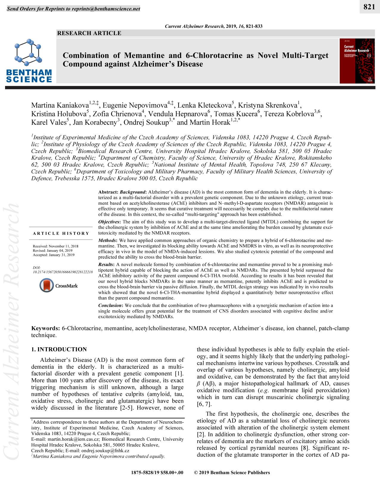 Book cover Combination of Memantine and 6-Chlorotacrine as Novel Multi-Target Compound against Alzheimer's Disease