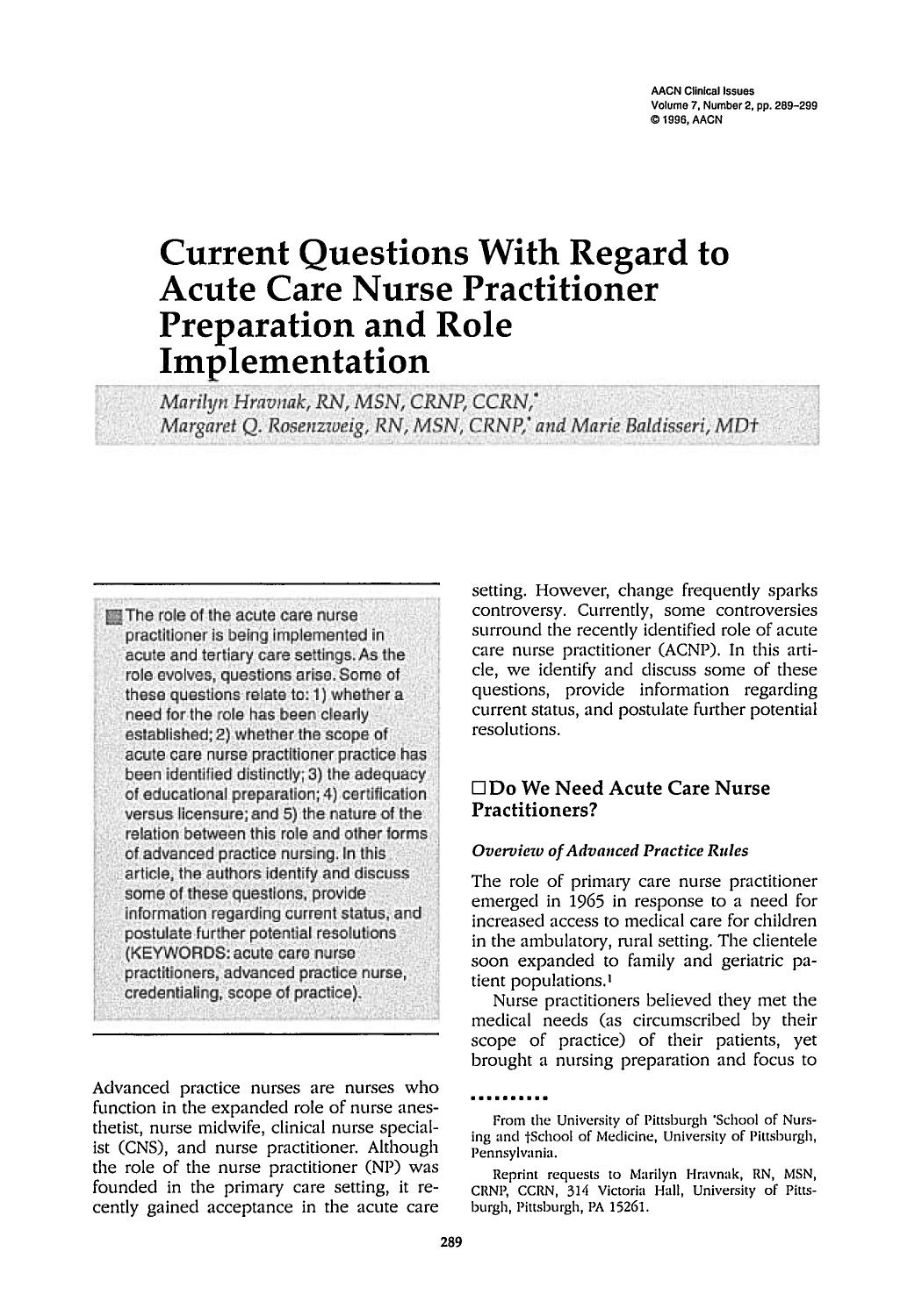 Portada del libro Current Questions With Regard to Acute Care Nurse Practitioner Preparation and Role Implementation