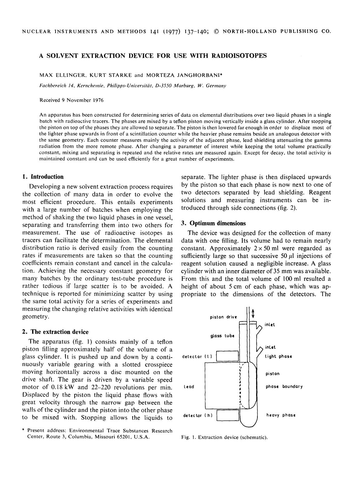 Book cover A solvent extraction device for use with radioisotopes