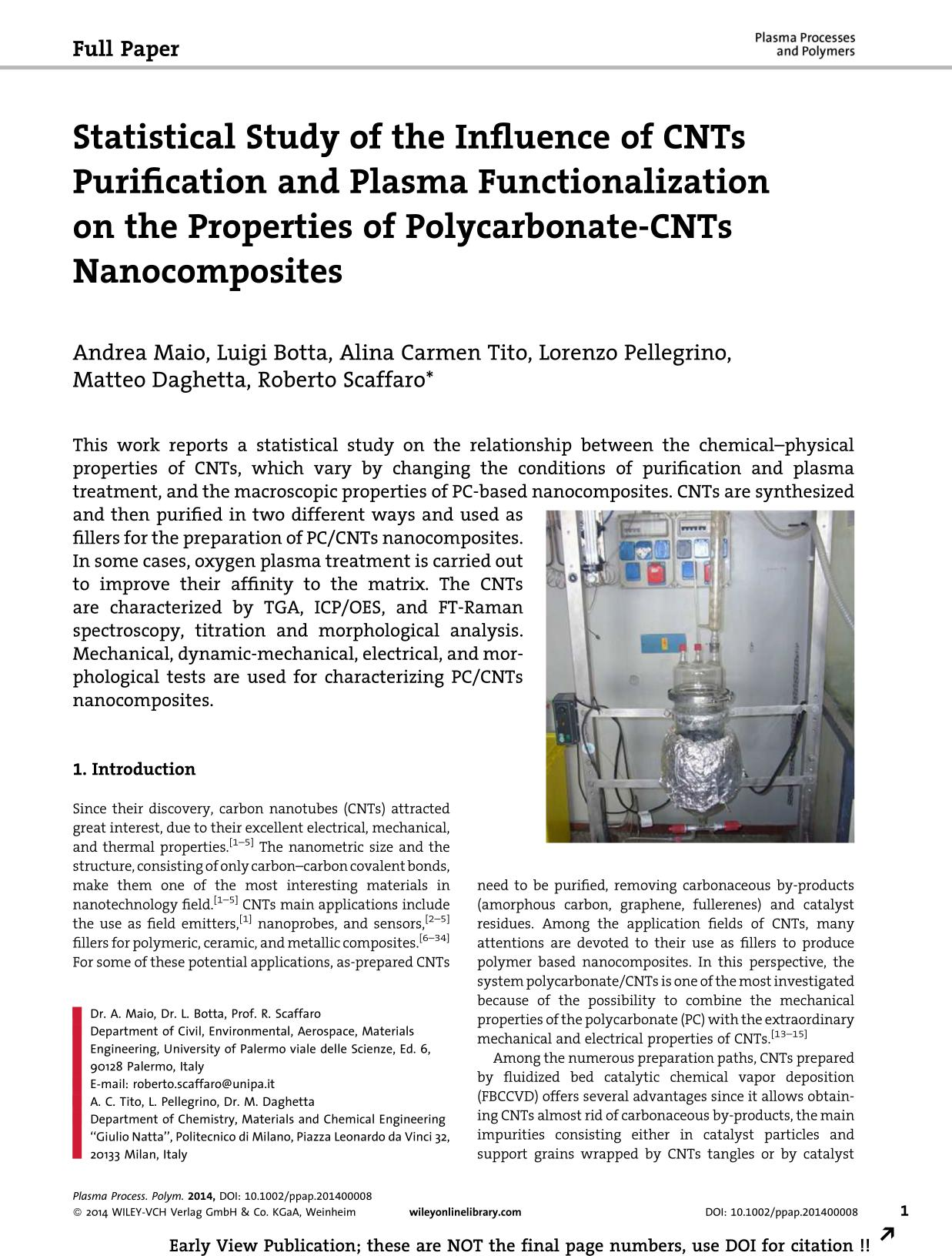 Kitabın üzlüyü Statistical Study of the Influence of CNTs Purification and Plasma Functionalization on the Properties of Polycarbonate-CNTs Nanocomposites