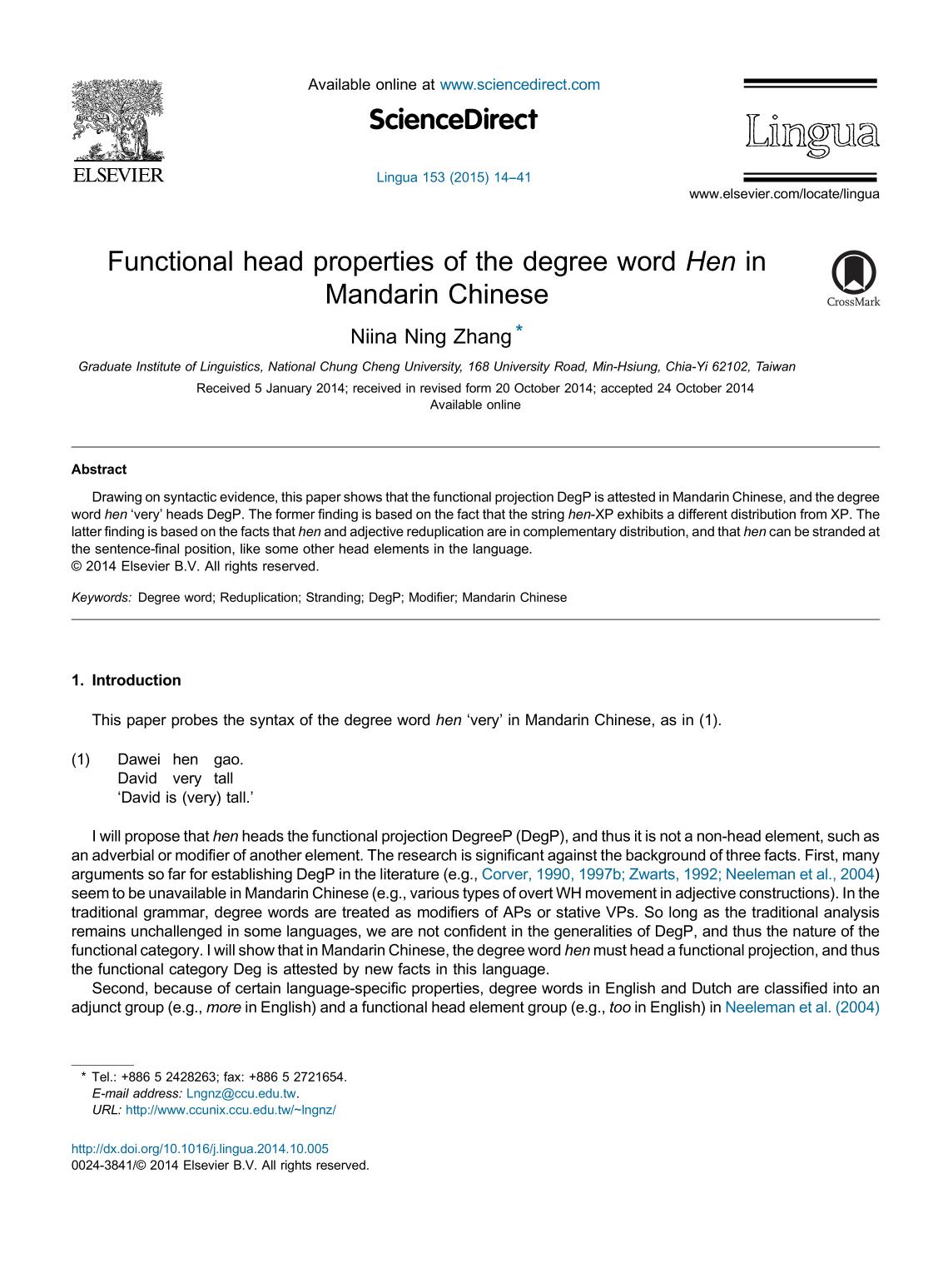 Portada del libro Functional head properties of the degree word Hen in Mandarin Chinese