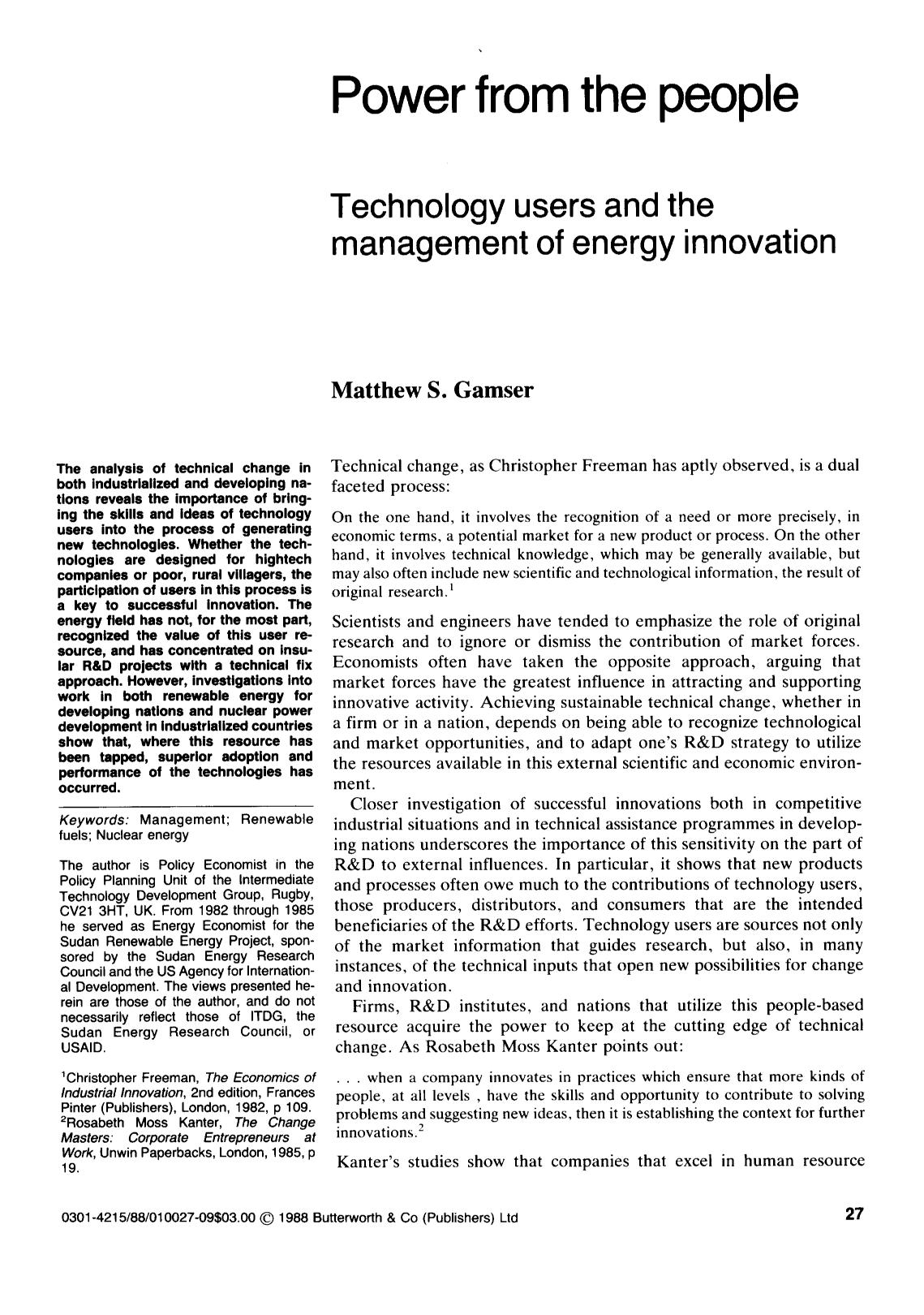 Portada del libro Power from the people: Technology users and the management of energy innovation