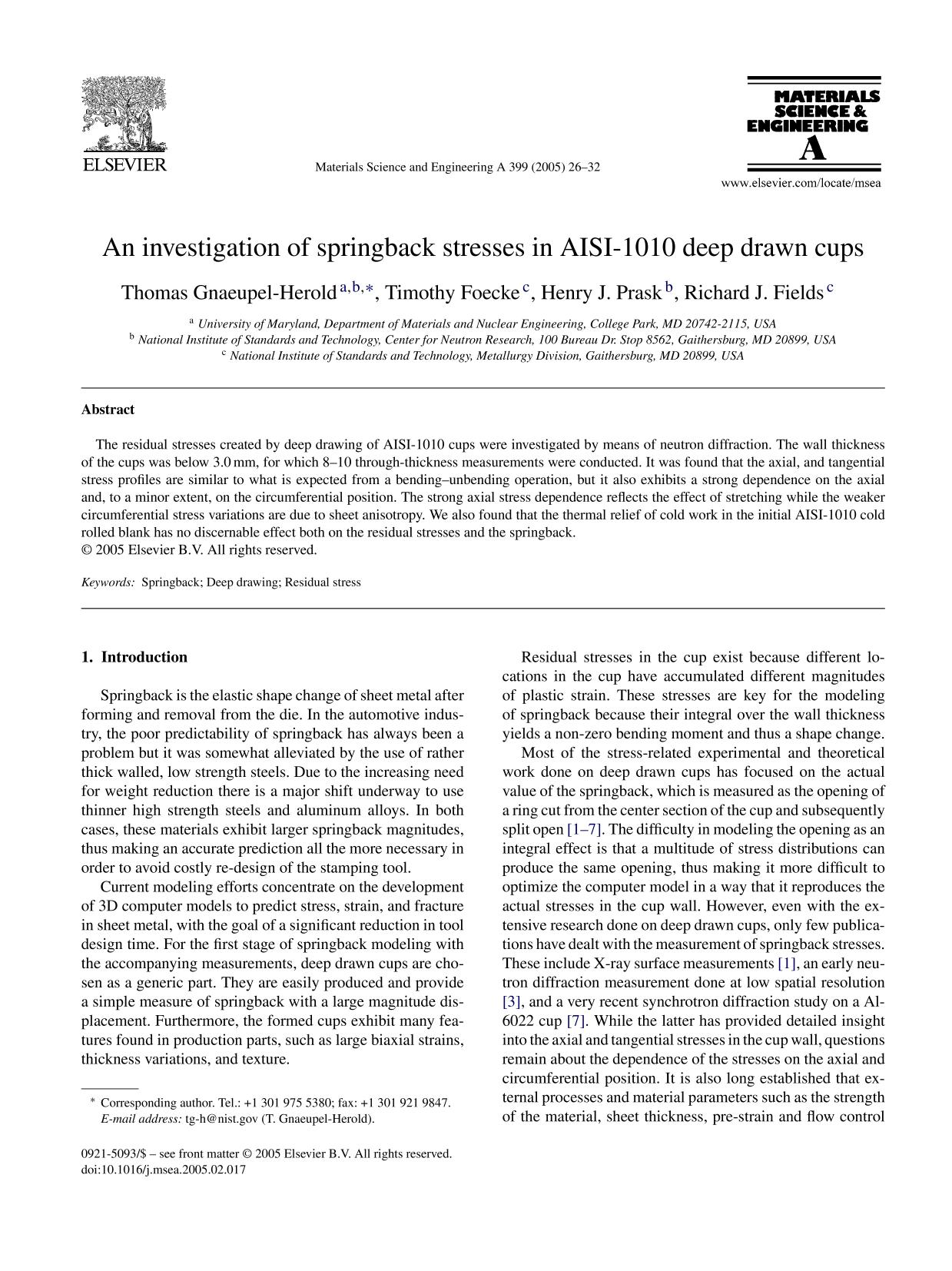Обложка книги An investigation of springback stresses in AISI-1010 deep drawn cups