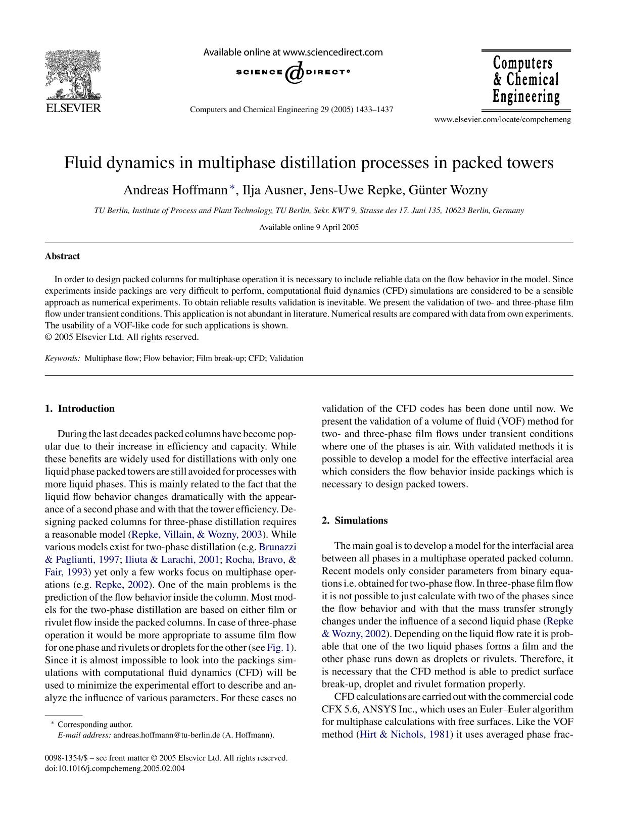 Portada del libro Fluid dynamics in multiphase distillation processes in packed towers
