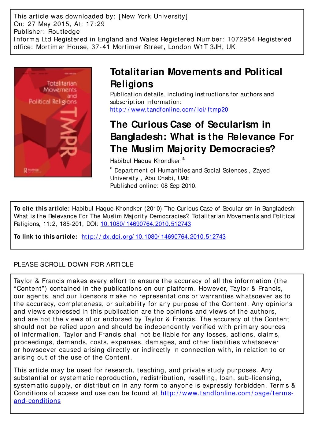 Portada del libro The Curious Case of Secularism in Bangladesh: What is the Relevance For The Muslim Majority Democracies?