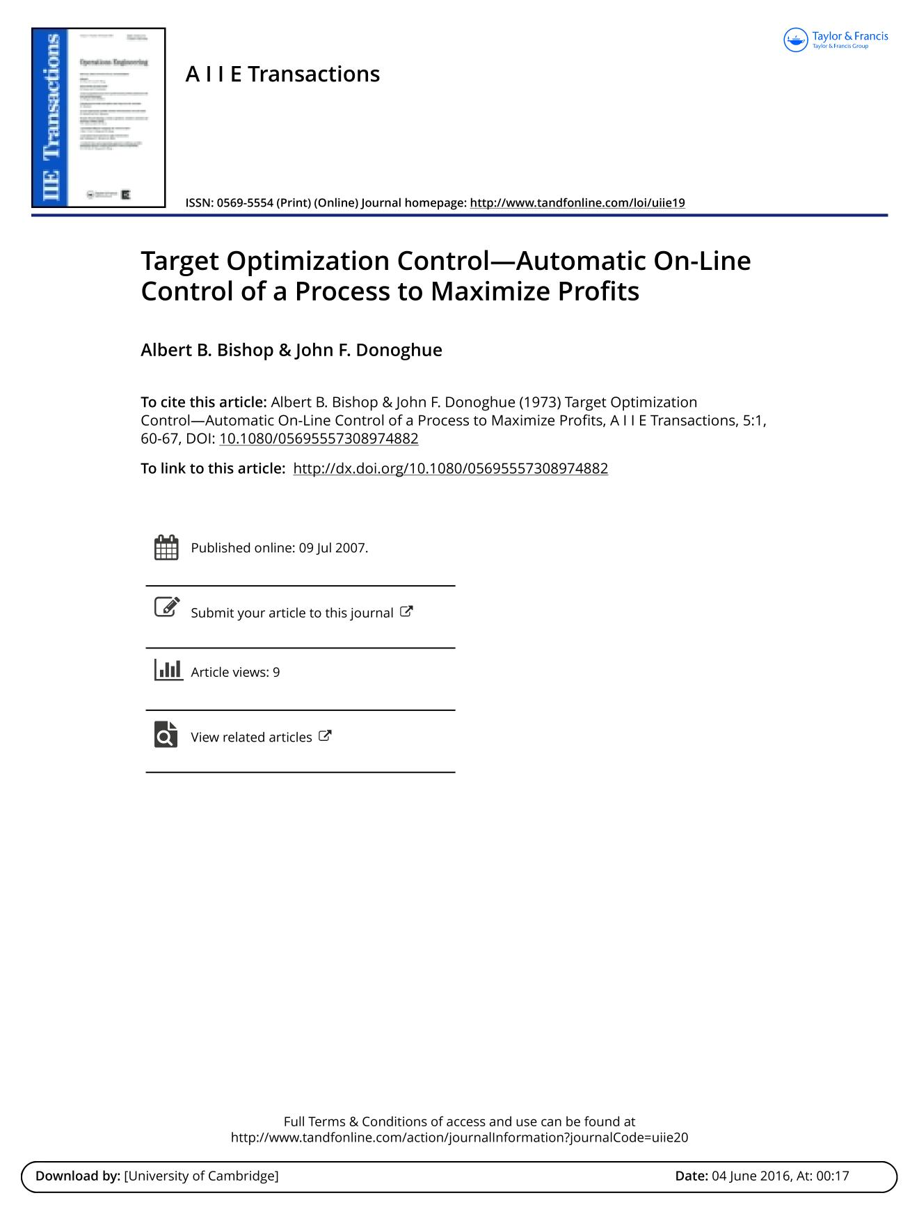 Book cover Target Optimization Control—Automatic On-Line Control of a Process to Maximize Profits