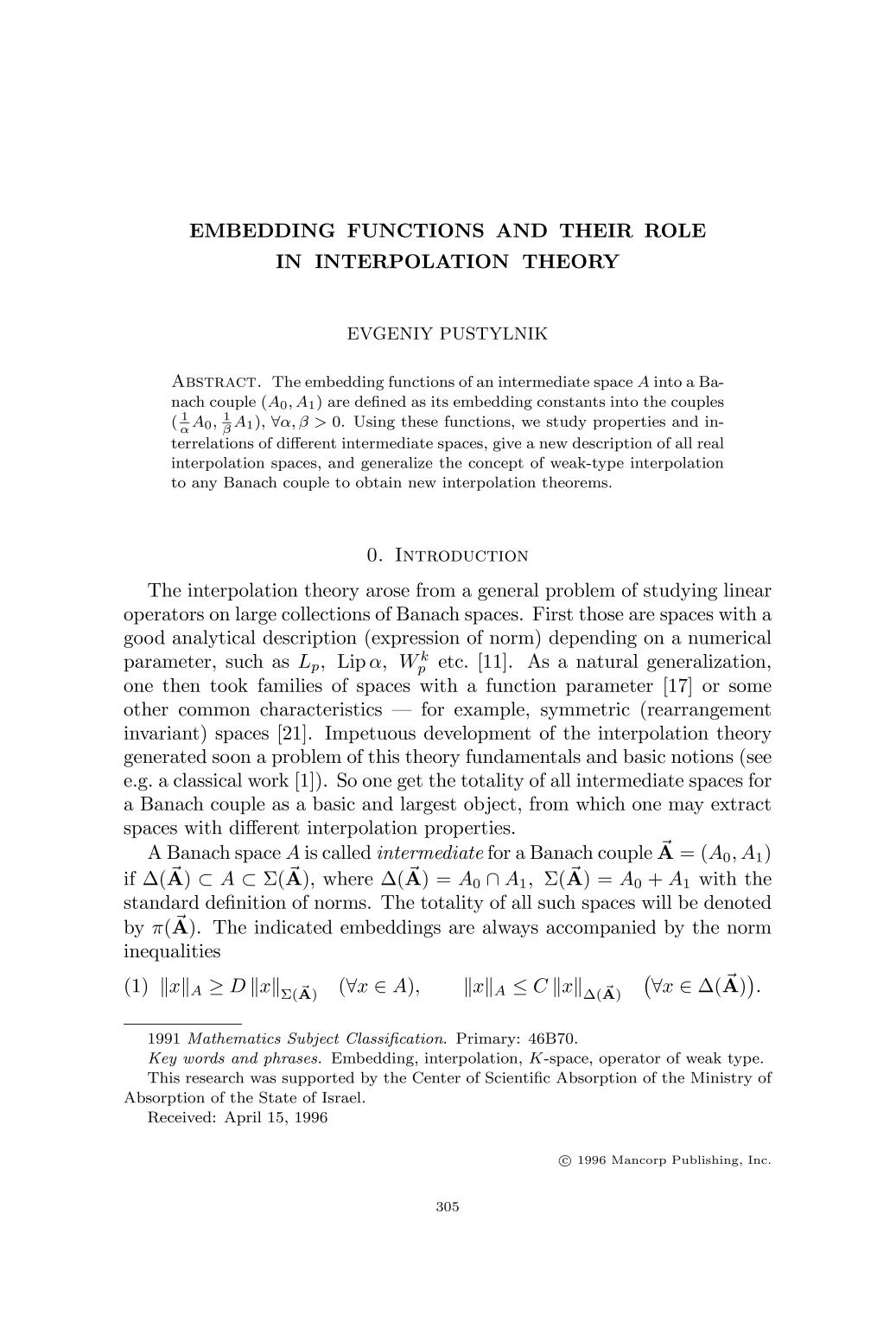 पुस्तक आवरण Embedding functions and their role in interpolation theory
