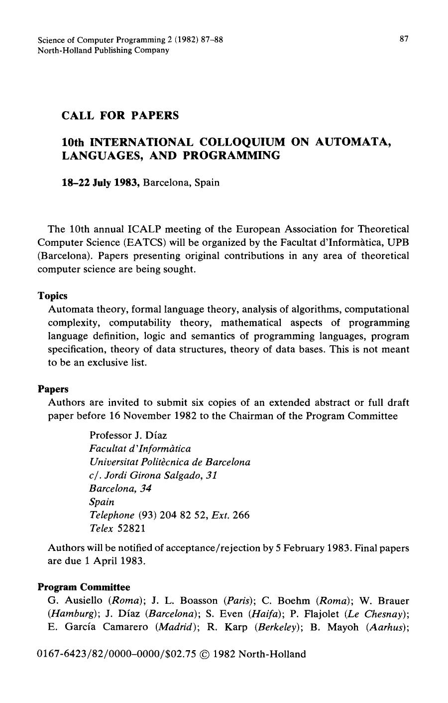 Buchcover 10th International colloquium on automata, languages, and programming : 18–22 July 1983, Barcelona, Spain