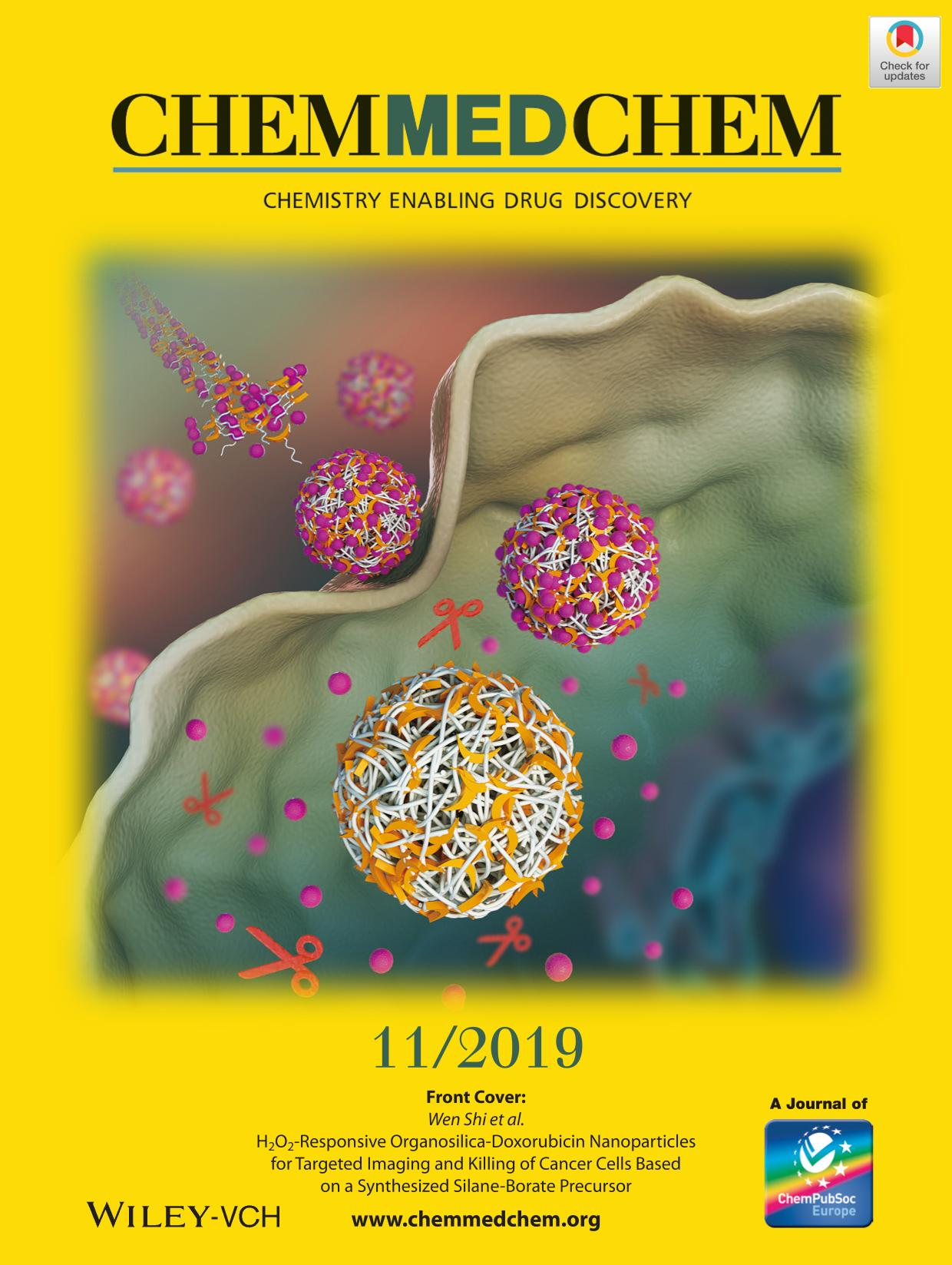 capa de livro Front Cover: H<br />              <sub/>2</sub><br />              O<br />              <sub/>2</sub><br />              ‐Responsive Organosilica‐Doxorubicin Nanoparticles for Targeted Imaging and Killing of Cancer Cells Based on a Synthesized Silane‐Borate Precursor (ChemMedChem 11/2019)