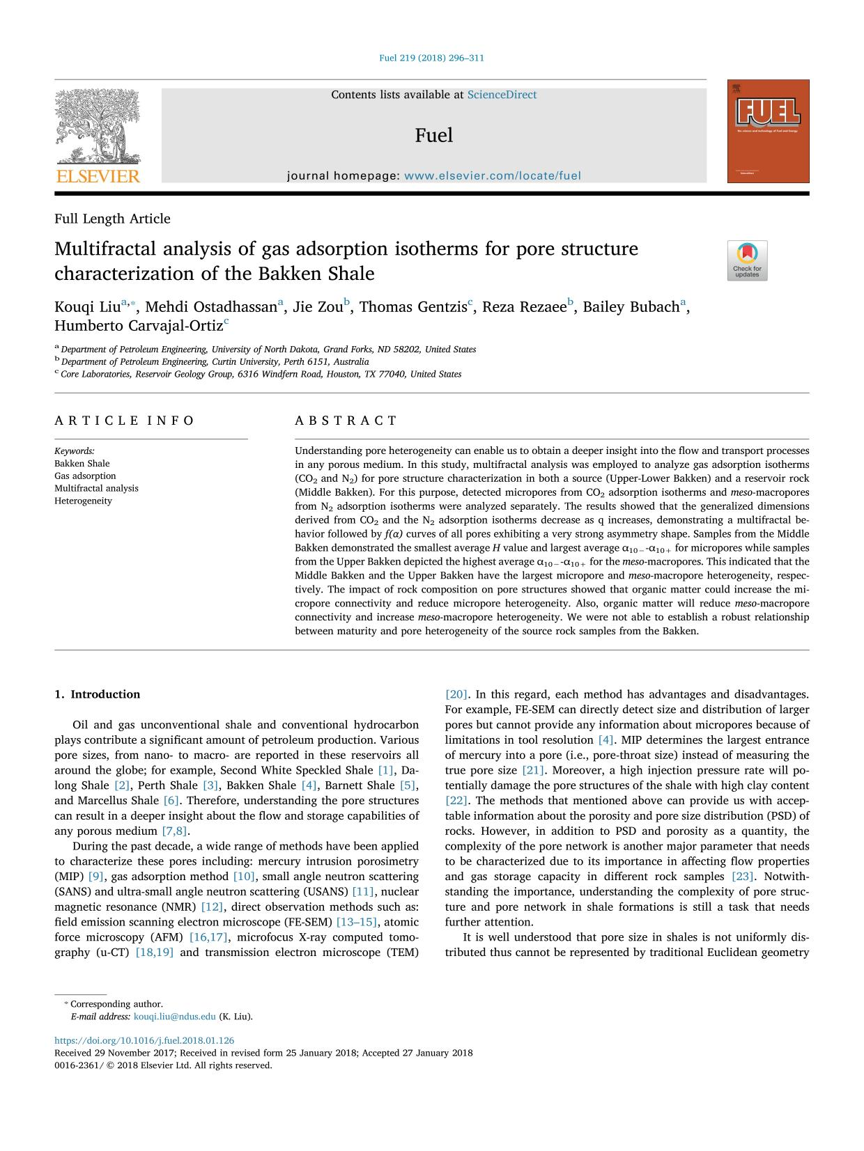 Portada del libro Multifractal analysis of gas adsorption isotherms for pore structure characterization of the Bakken Shale