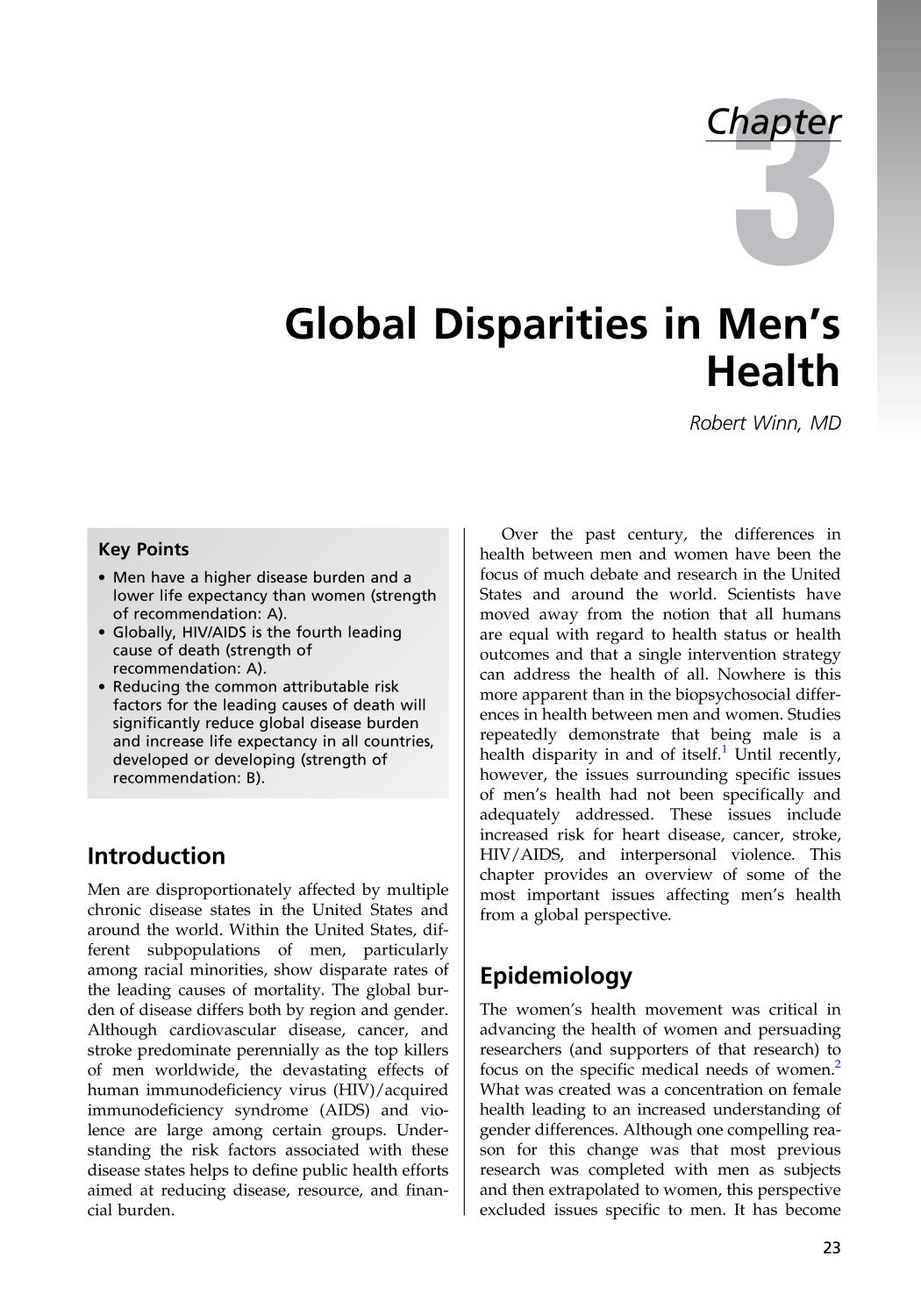 capa de livro Clinical Men's Health || Global Disparities in Men's Health