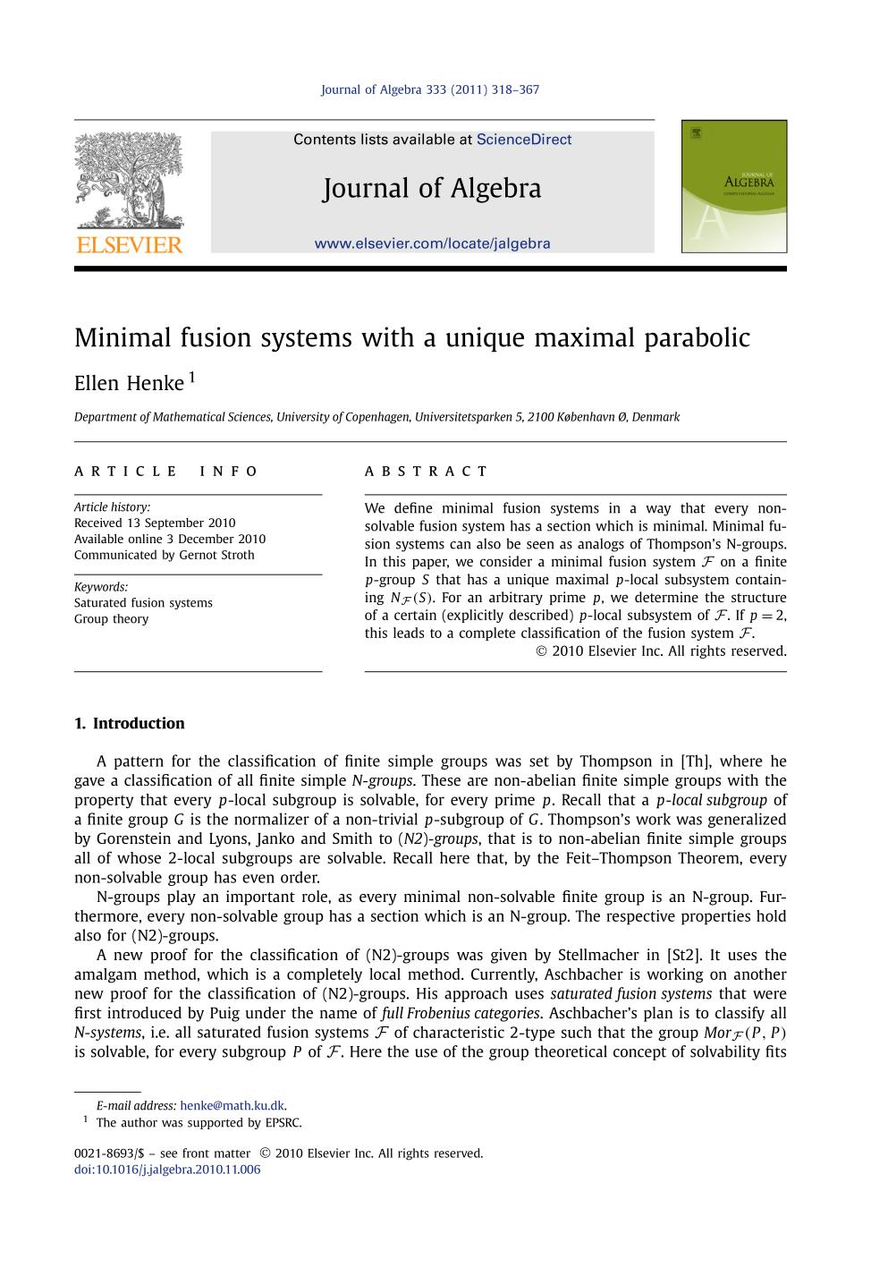 Book cover Minimal fusion systems with a unique maximal parabolic