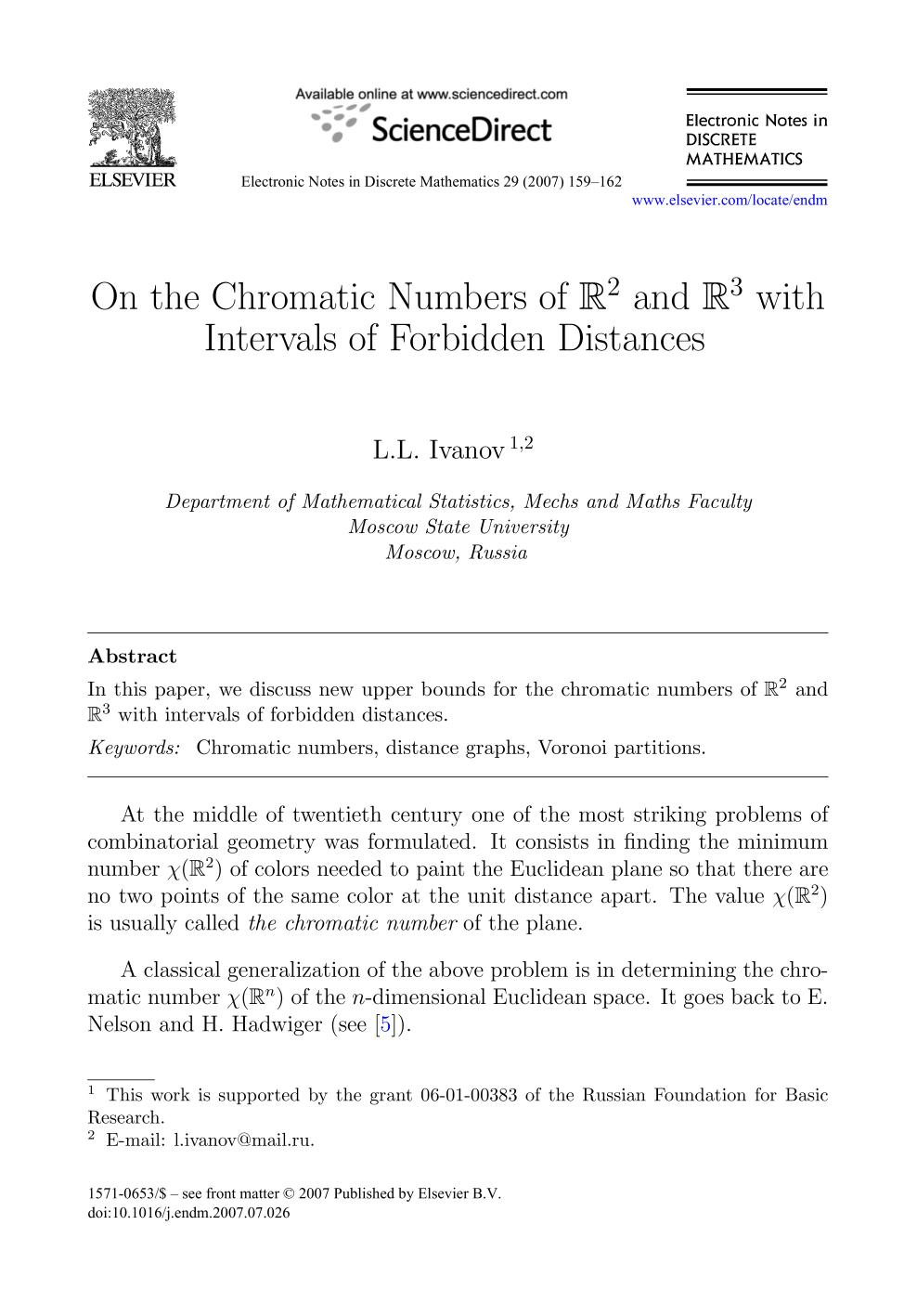Обкладинка книги On the Chromatic Numbers of and with Intervals of Forbidden Distances
