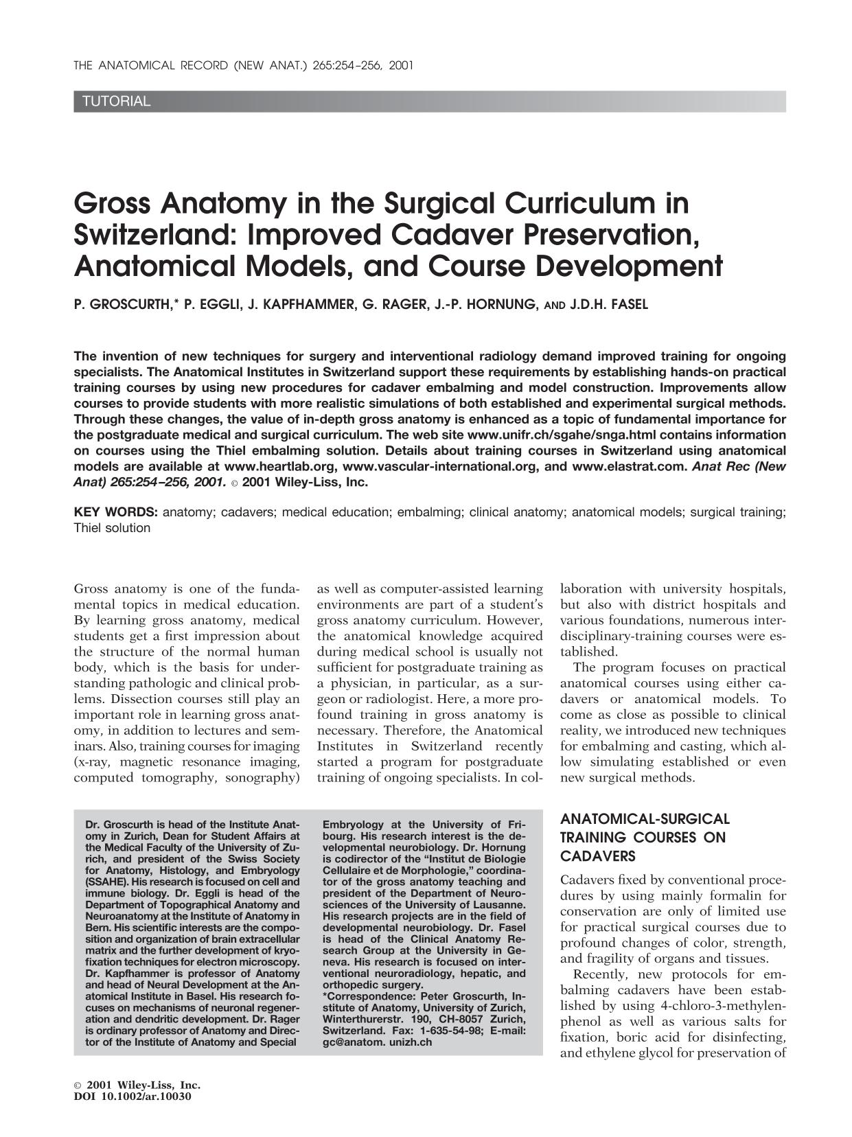 Portada del libro Gross anatomy in the surgical curriculum in Switzerland: Improved cadaver preservation, anatomical models, and course development