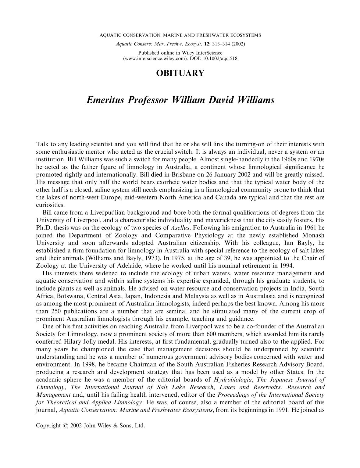 書籍の表紙 Emeritus Professor William David Williams