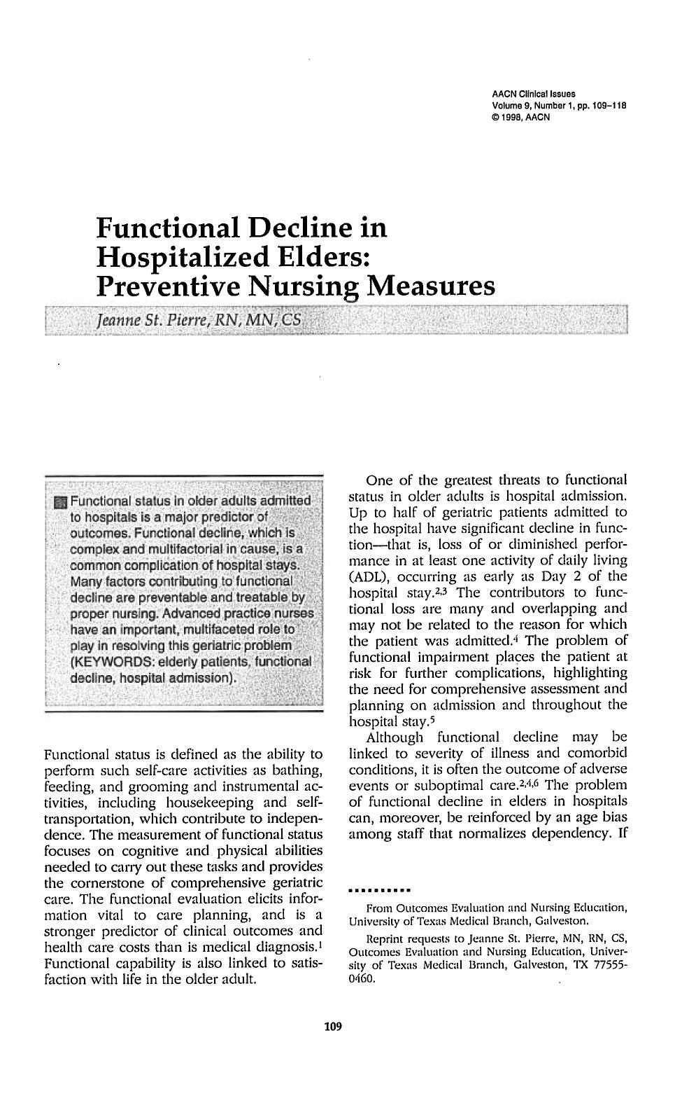 غلاف الكتاب Functional Decline in Hospitalized Elders: Preventive Nursing Measures