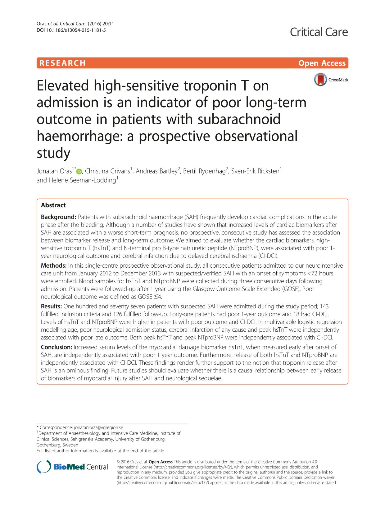 Обкладинка книги Elevated high-sensitive troponin T on admission is an indicator of poor long-term outcome in patients with subarachnoid haemorrhage: a prospective observational study