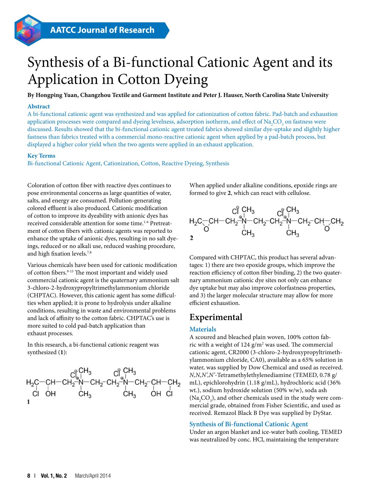 पुस्तक आवरण Synthesis of a Bi-functional Cationic Agent and its Application in Cotton Dyeing