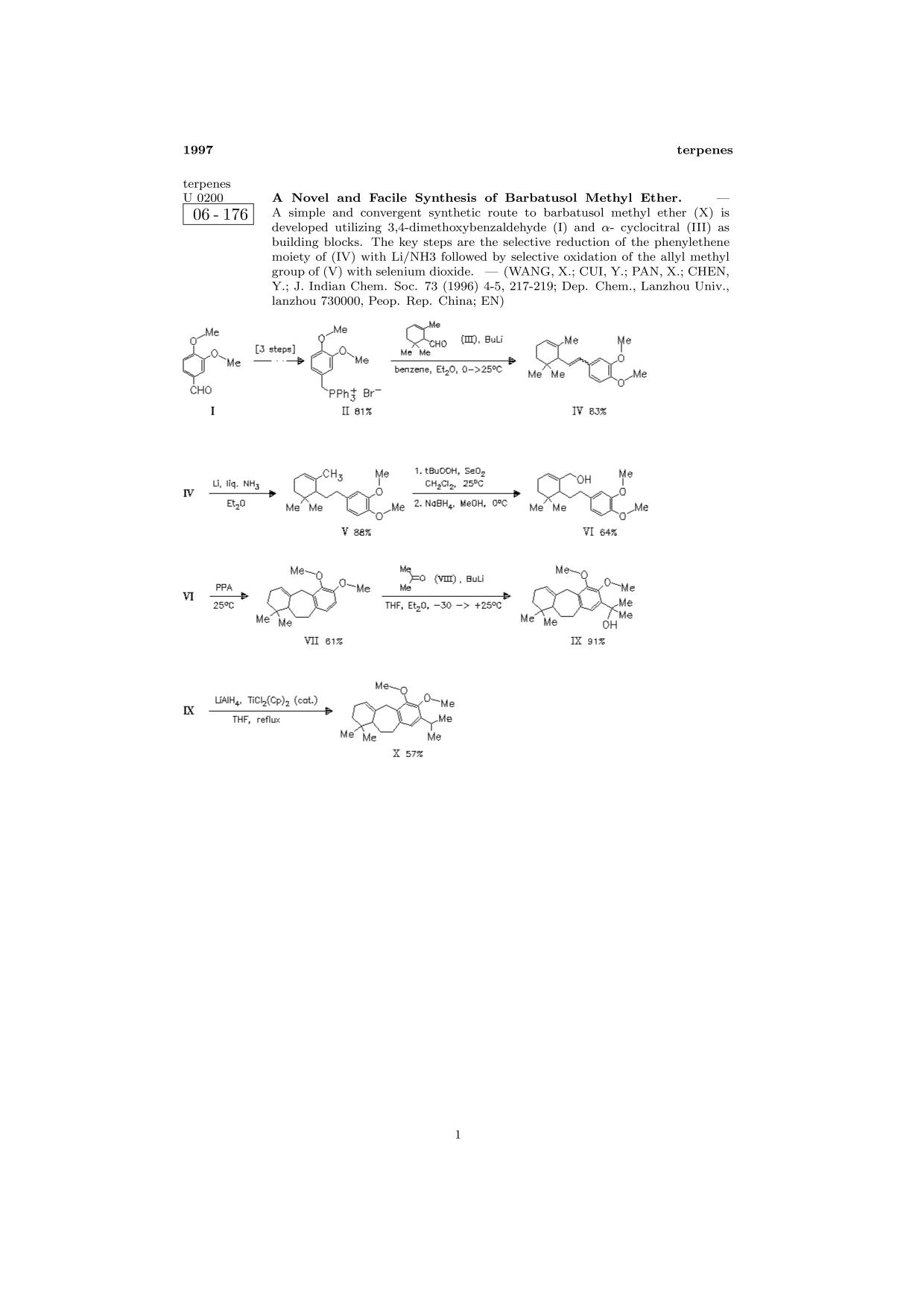 Book cover ChemInform Abstract: A Novel and Facile Synthesis of Barbatusol Methyl Ether.<span></span>