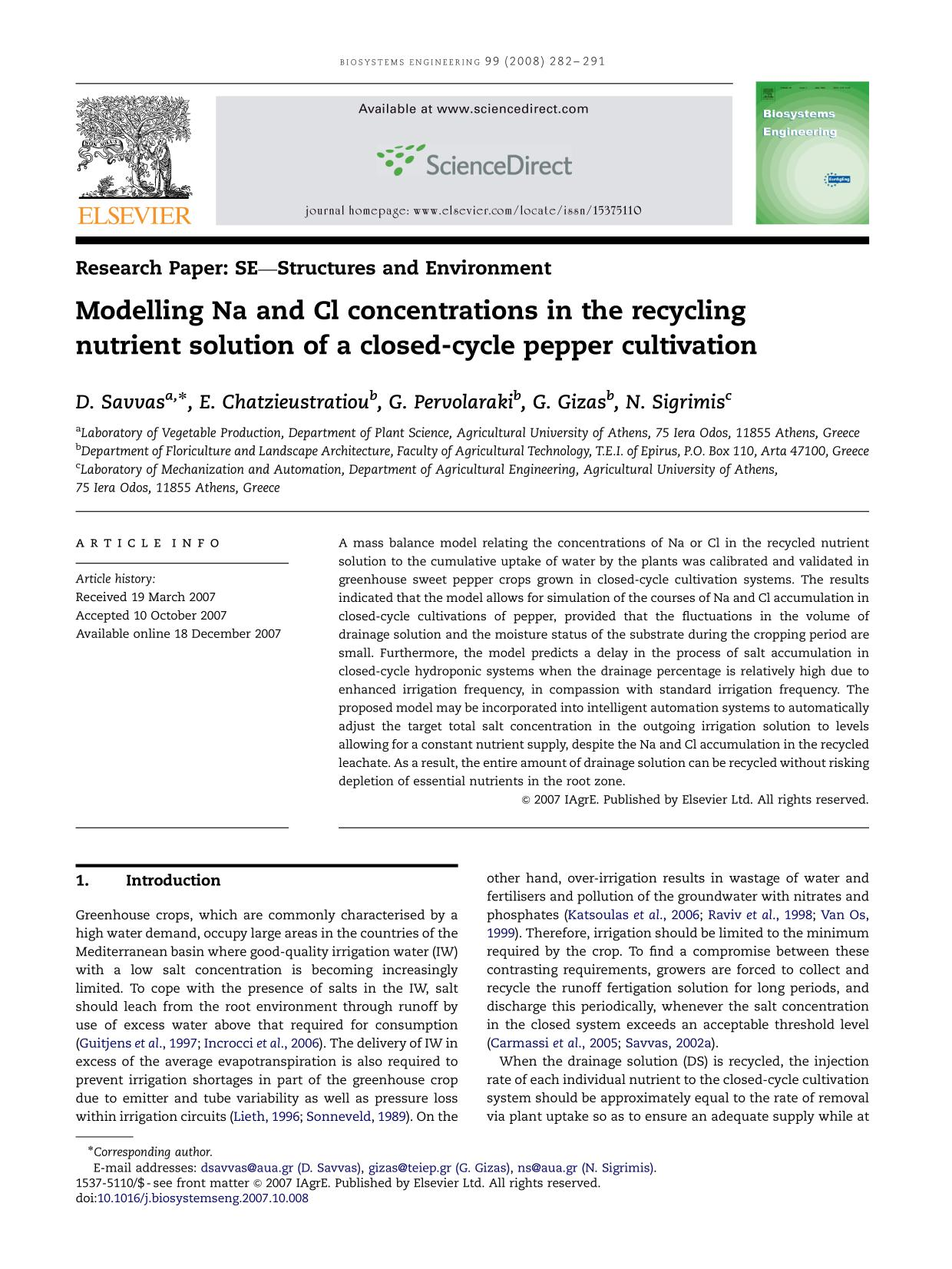 Book cover Modelling Na and Cl concentrations in the recycling nutrient solution of a closed-cycle pepper cultivation
