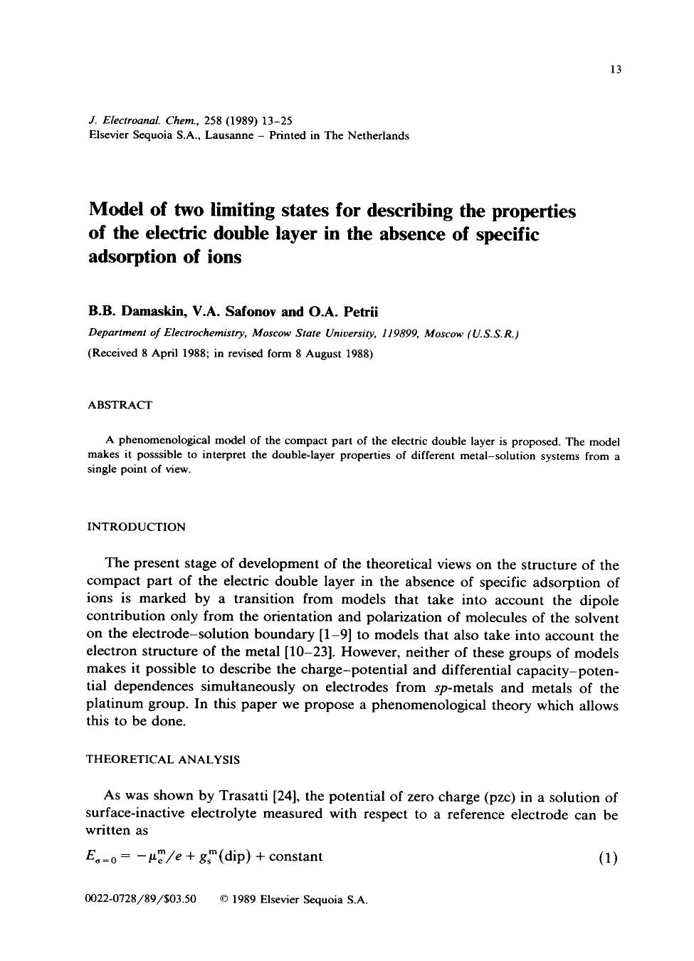 Book cover Model of two limiting states for describing the properties of the electric double layer in the absence of specific adsorption of ions