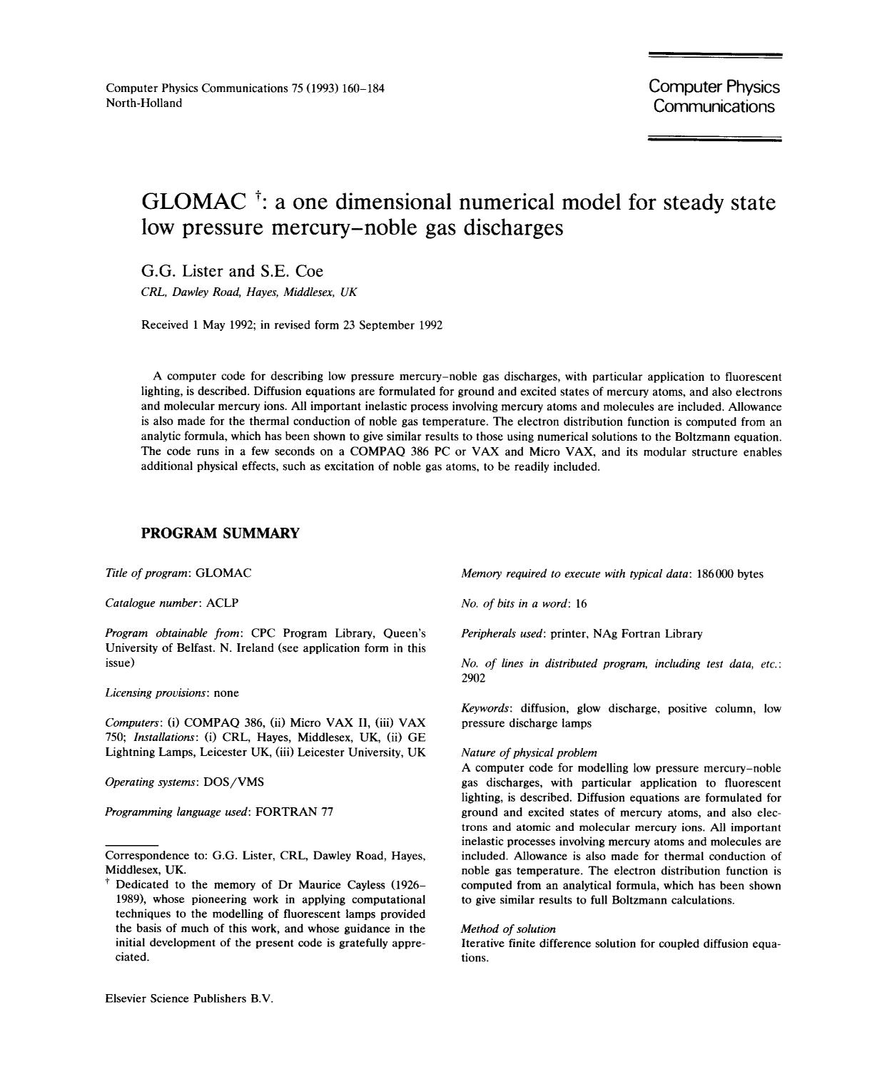 Copertina GLOMAC : a one dimensional numerical model for steady state low pressure mercury-noble gas discharges